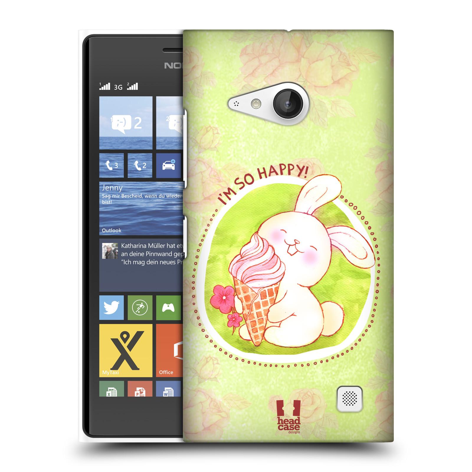 Plastové pouzdro na mobil Nokia Lumia 735 HEAD CASE KRÁLÍČEK A ZMRZKA