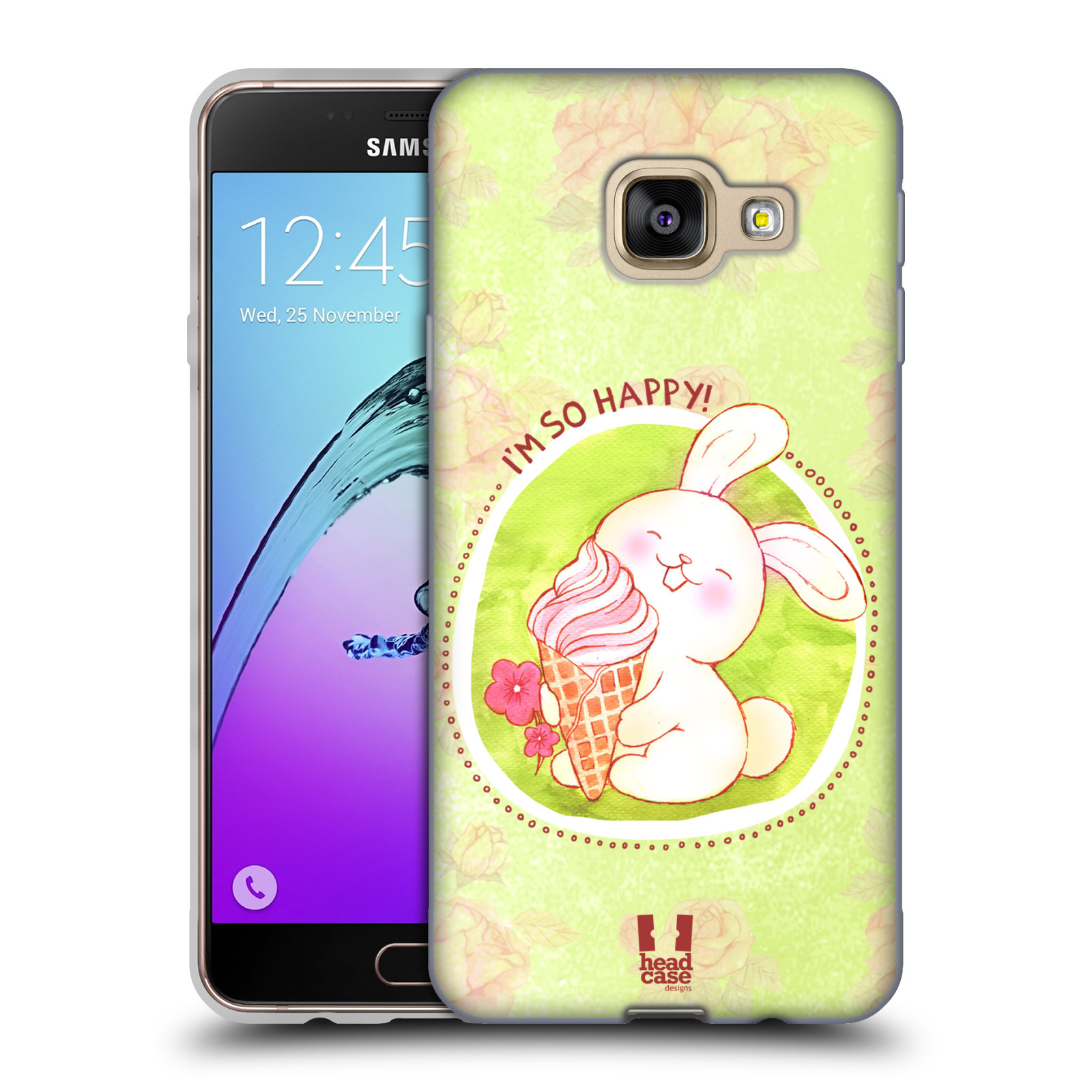 Silikonové pouzdro na mobil Samsung Galaxy A3 (2016) HEAD CASE KRÁLÍČEK A ZMRZKA