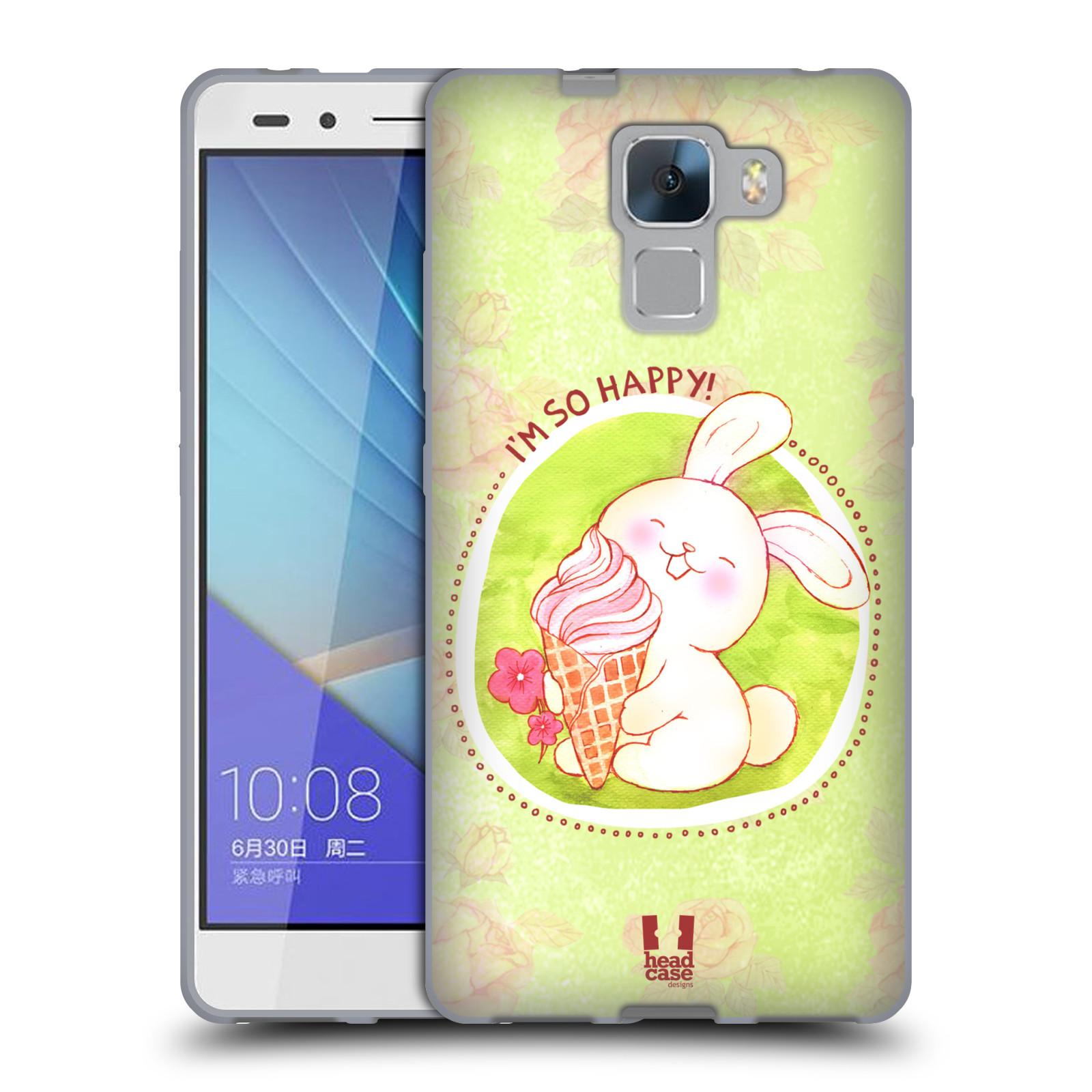 Silikonové pouzdro na mobil Honor 7 HEAD CASE KRÁLÍČEK A ZMRZKA