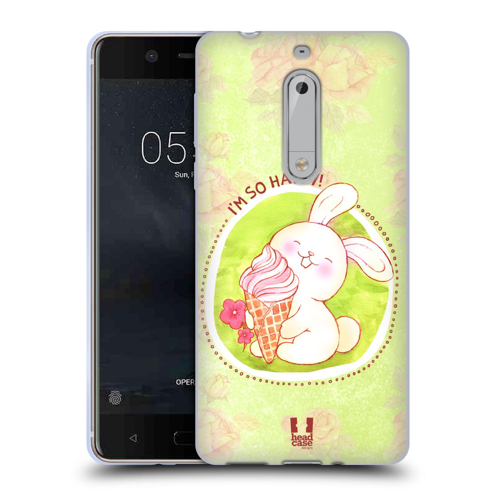 Silikonové pouzdro na mobil Nokia 5 Head Case - KRÁLÍČEK A ZMRZKA