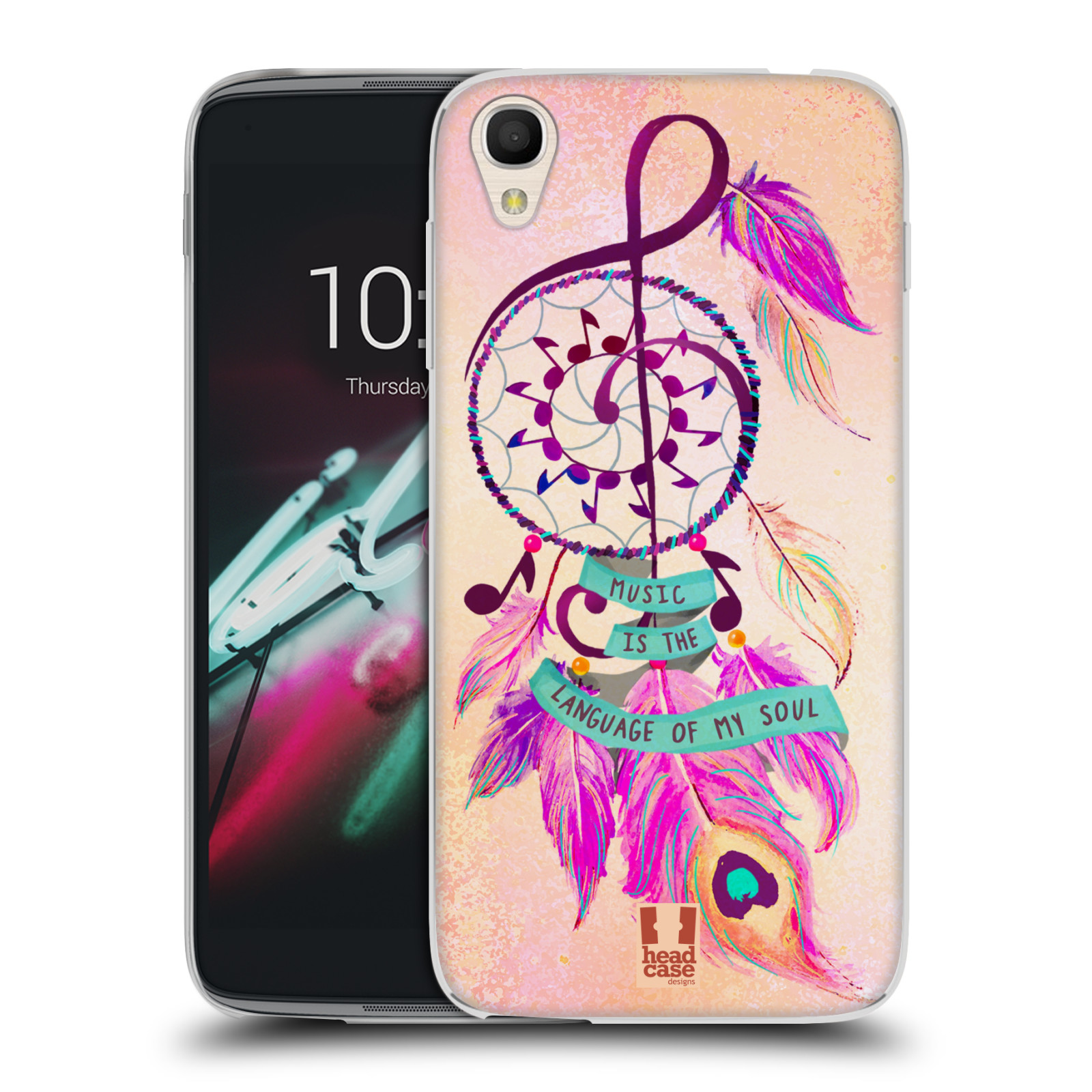 "Silikonové pouzdro na mobil Alcatel One Touch 6039Y Idol 3 HEAD CASE Lapač Assorted Music (Silikonový kryt či obal na mobilní telefon Alcatel One Touch Idol 3 OT-6039Y s 4,7"" displejem)"