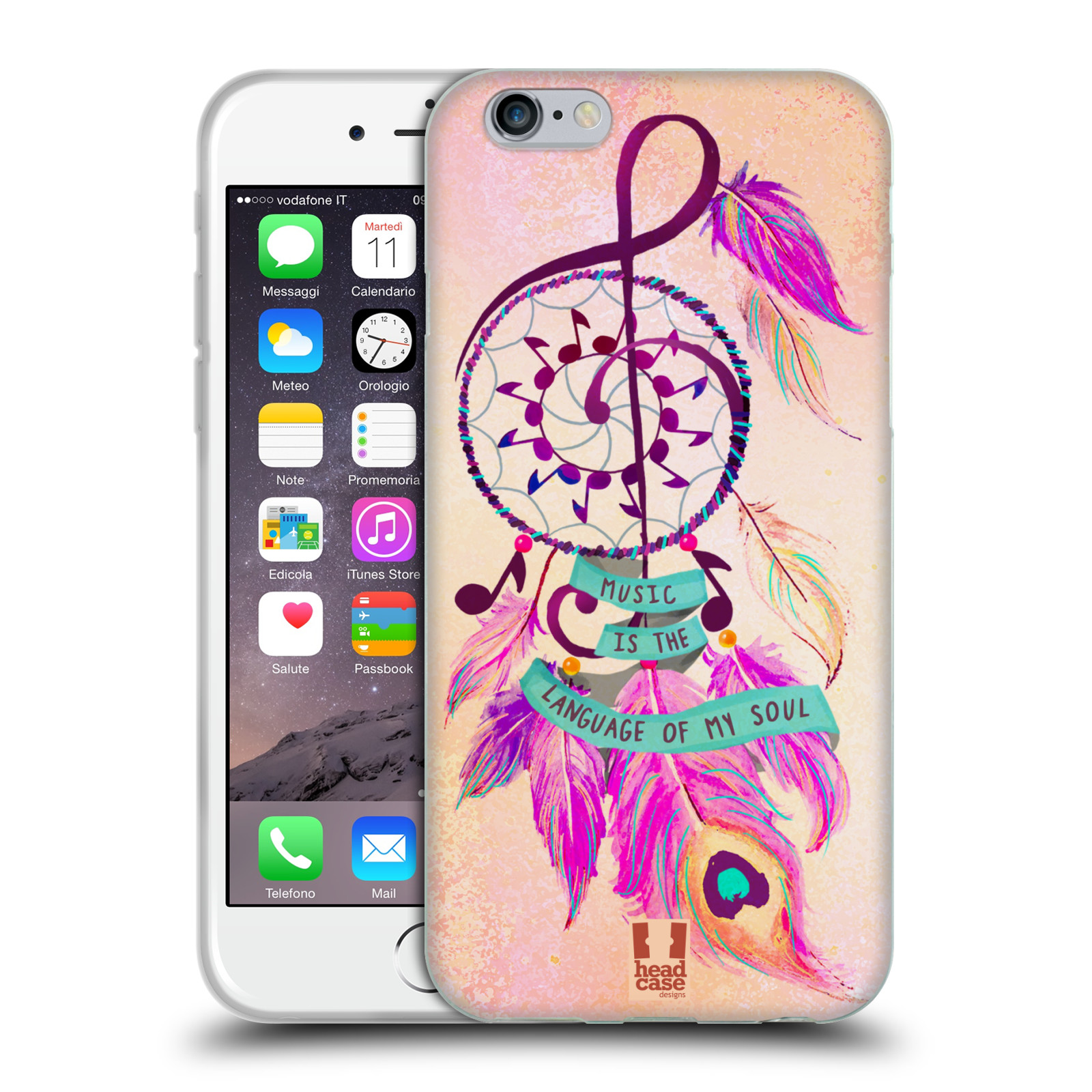 Silikonové pouzdro na mobil Apple iPhone 6 HEAD CASE Lapač Assorted Music