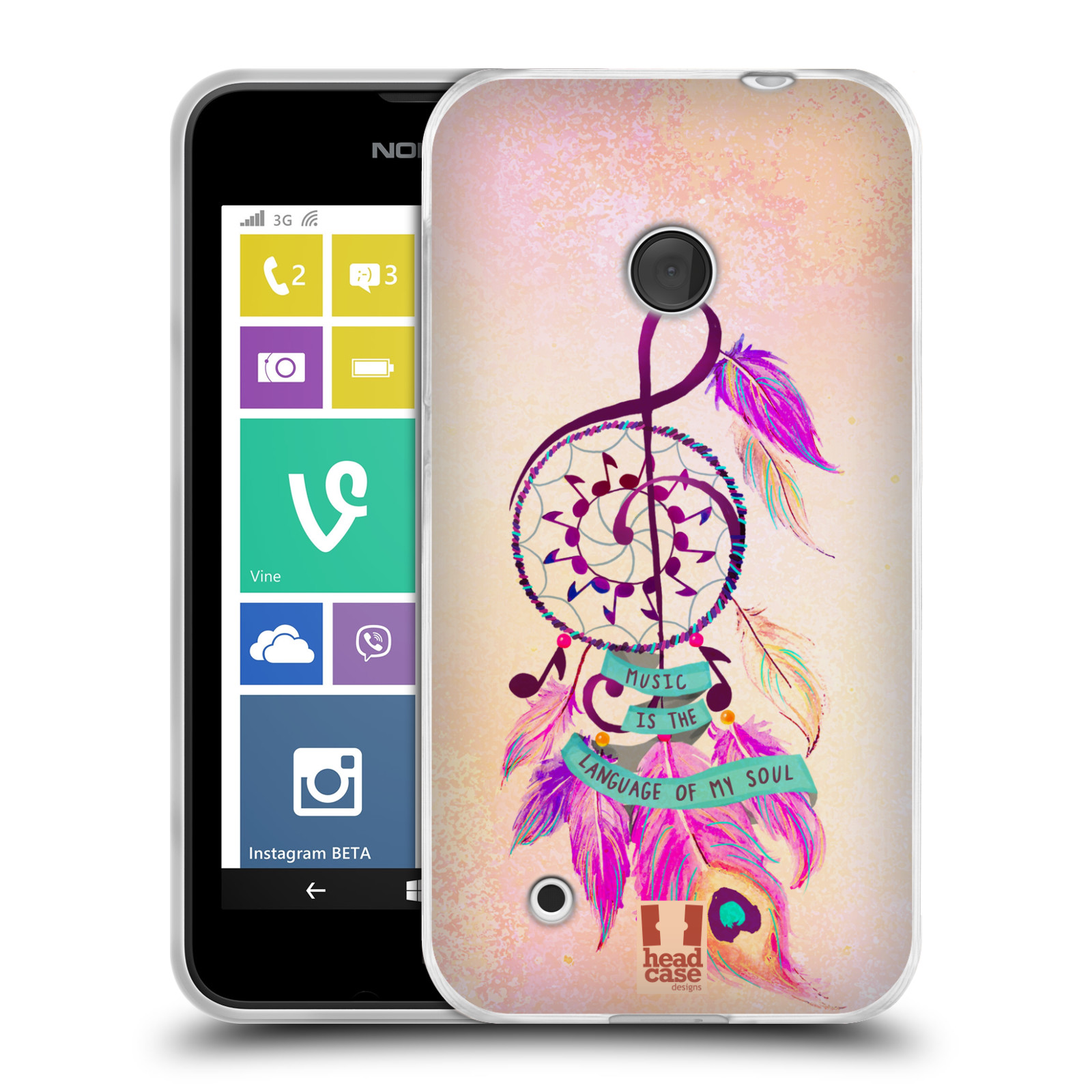 Silikonové pouzdro na mobil Nokia Lumia 530 HEAD CASE Lapač Assorted Music (Silikonový kryt či obal na mobilní telefon Nokia Lumia 530)