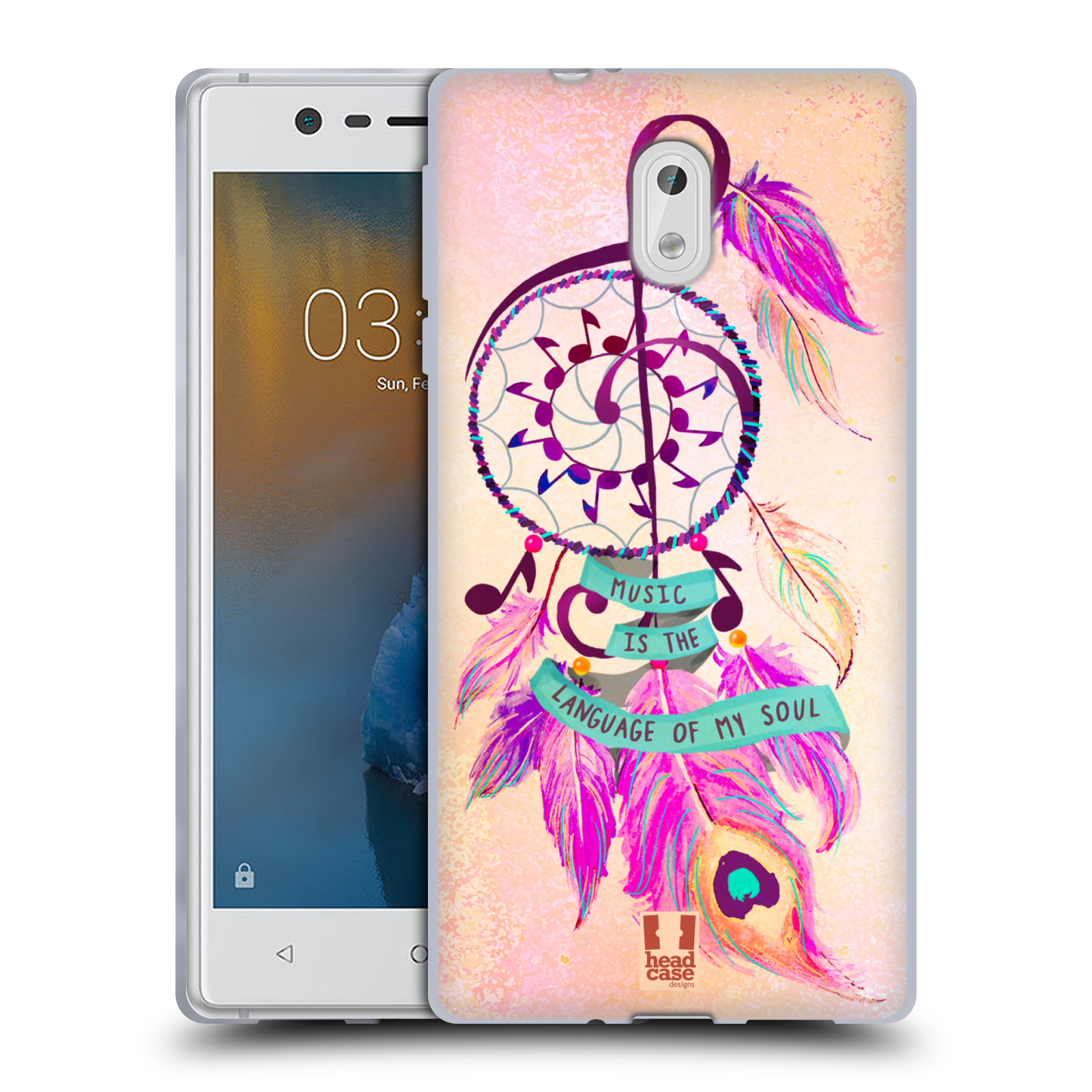 Silikonové pouzdro na mobil Nokia 3 Head Case - Lapač Assorted Music