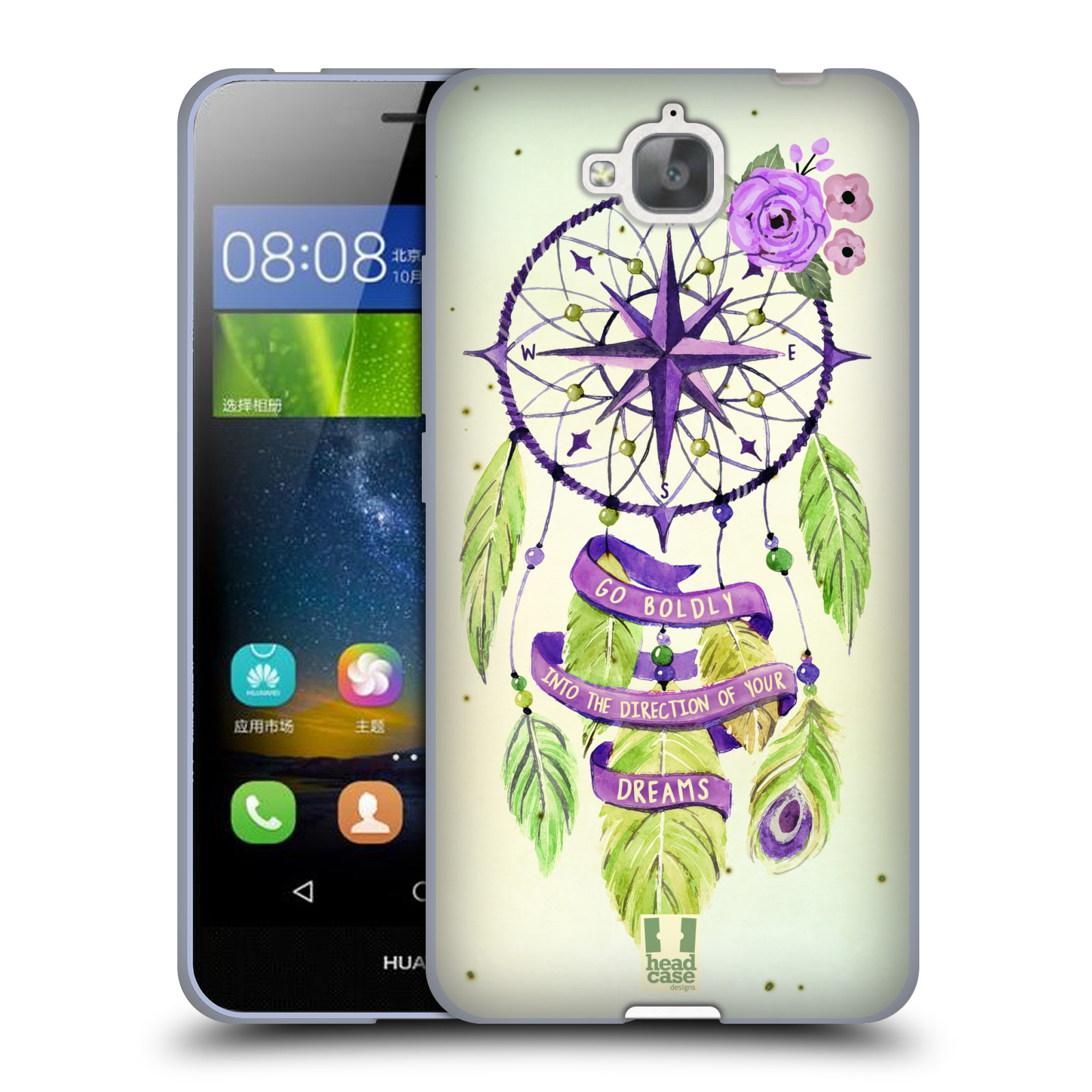 Silikonové pouzdro na mobil Huawei Y6 Pro Dual Sim HEAD CASE Lapač Assorted Compass