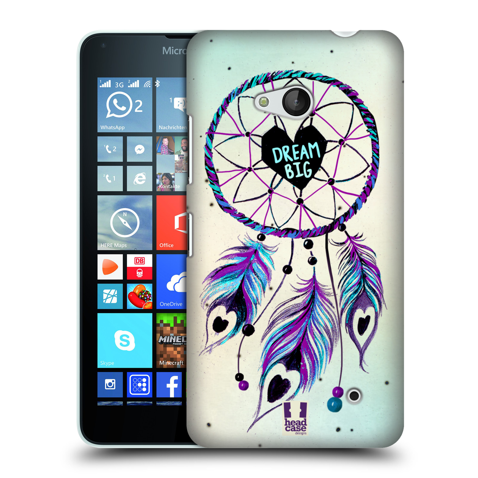 Plastové pouzdro na mobil Microsoft Lumia 640 HEAD CASE Lapač Assorted Dream Big Srdce