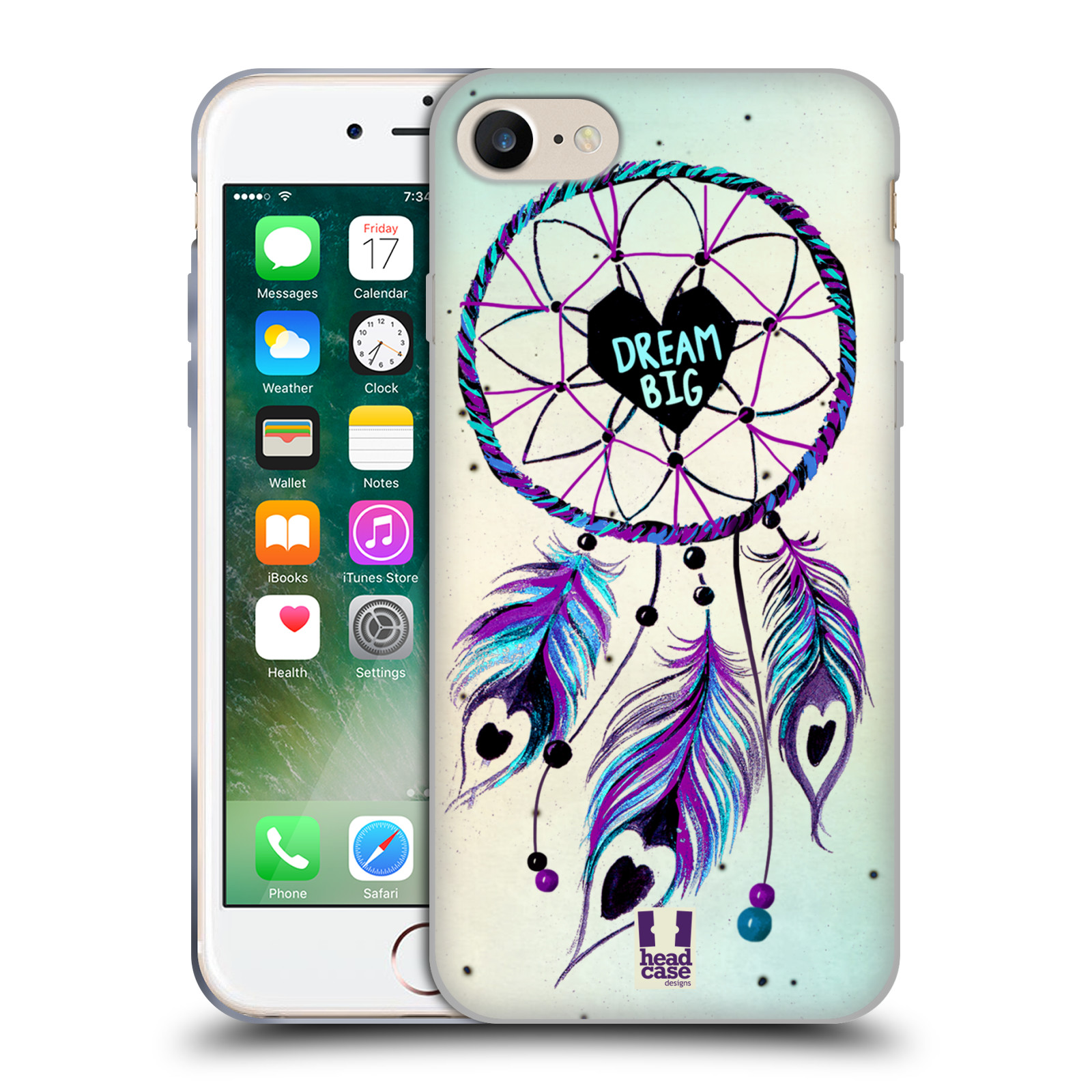 Silikonové pouzdro na mobil Apple iPhone 8 - Head Case - Lapač Assorted Dream Big Srdce