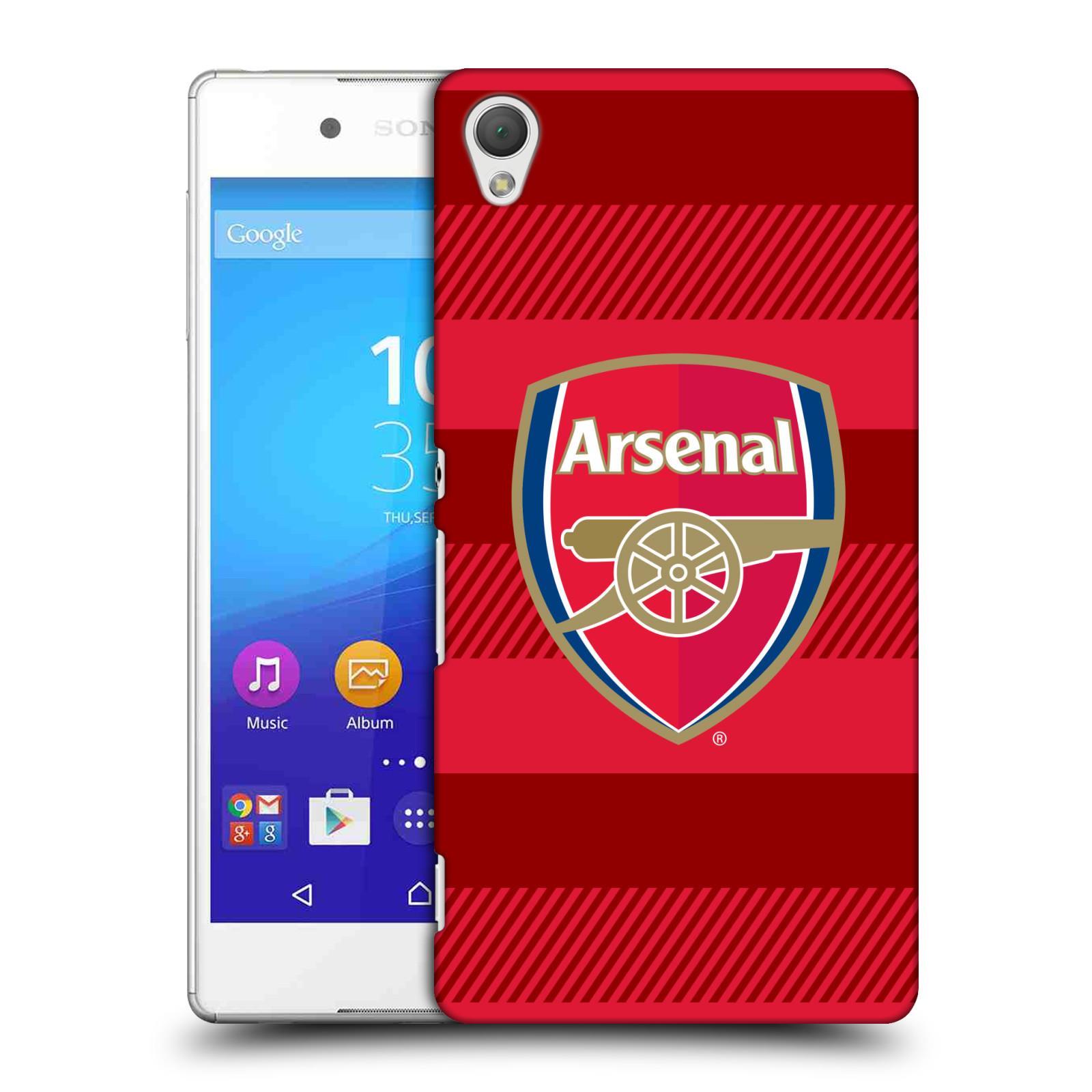 Plastové pouzdro na mobil Sony Xperia Z3+ (Plus) - Head Case - Arsenal FC - Logo s pruhy (Plastový kryt či obal na mobilní telefon s motivem klubu Arsenal FC - Logo s pruhy pro Sony Xperia Z3+ a Sony Xperia Z4 )