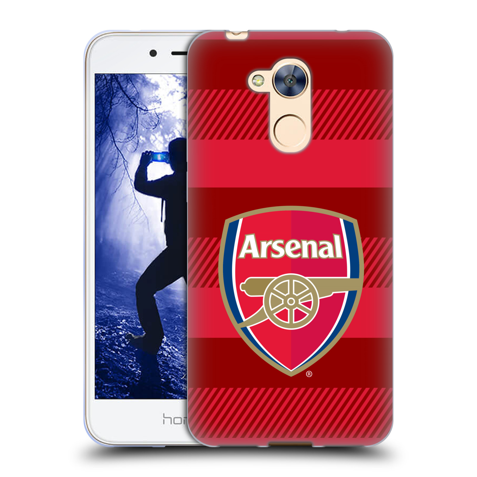 Silikonové pouzdro na mobil Honor 6A - Head Case - Arsenal FC - Logo s pruhy