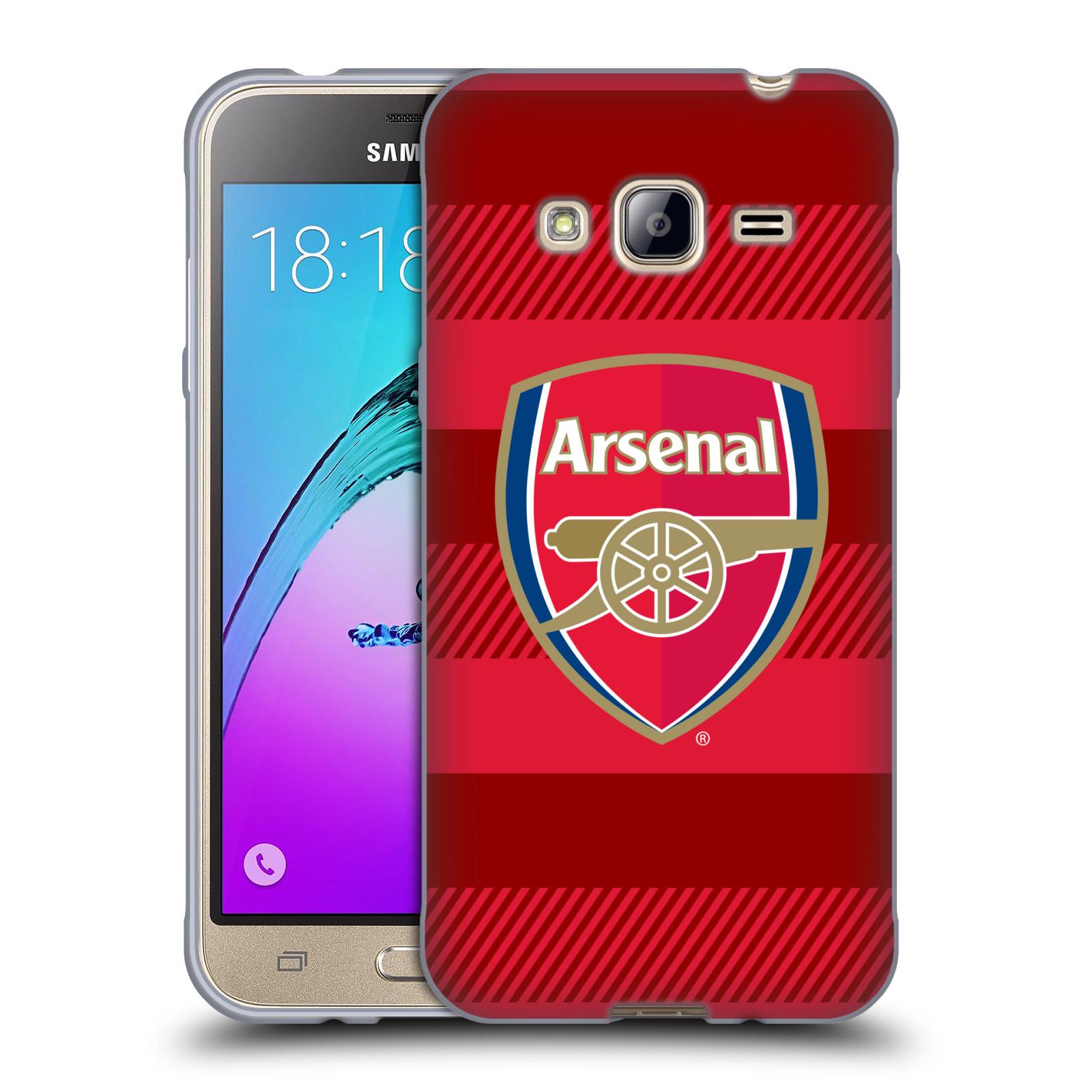 Silikonové pouzdro na mobil Samsung Galaxy J3 (2016) - Head Case - Arsenal FC - Logo s pruhy