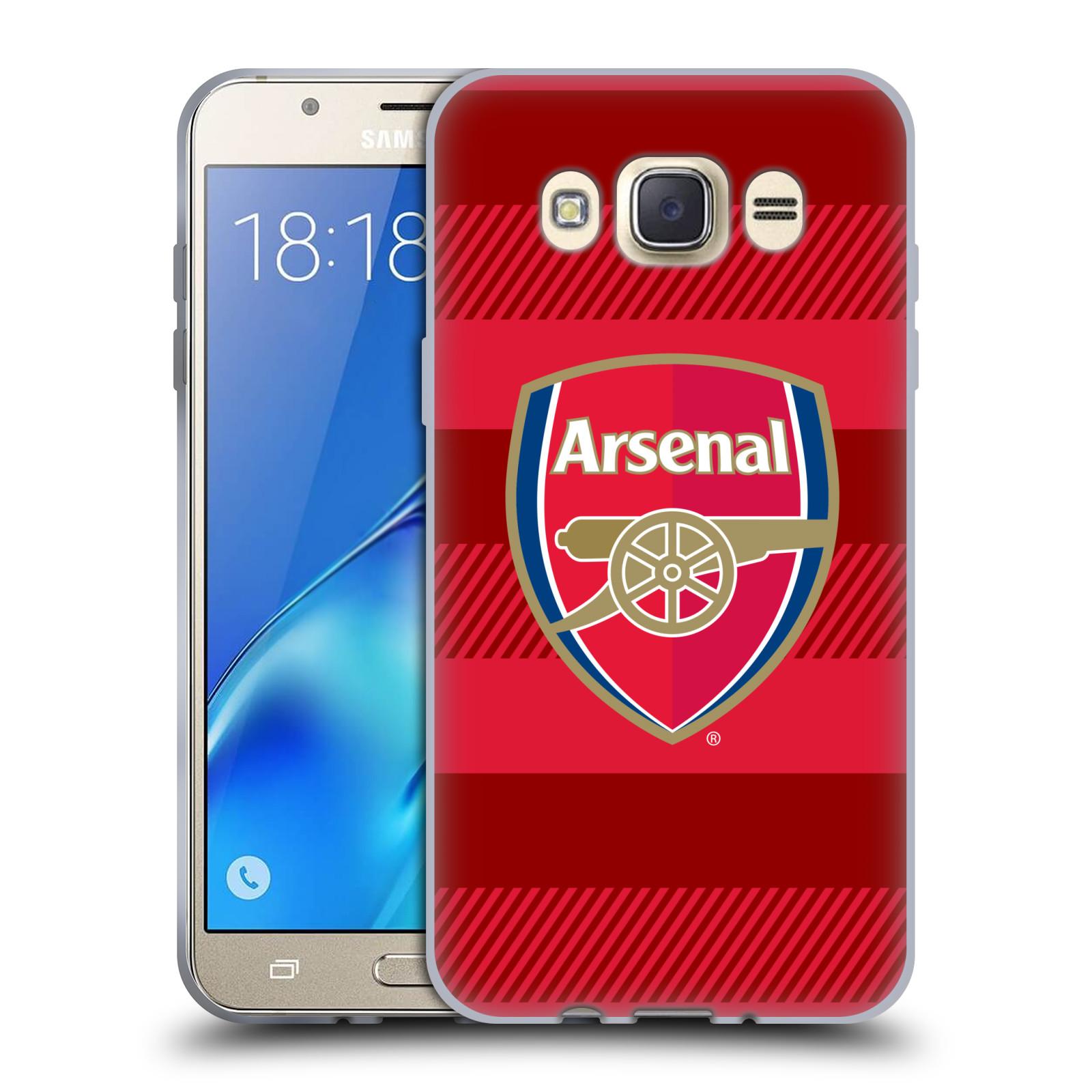 Silikonové pouzdro na mobil Samsung Galaxy J7 (2016) - Head Case - Arsenal FC - Logo s pruhy