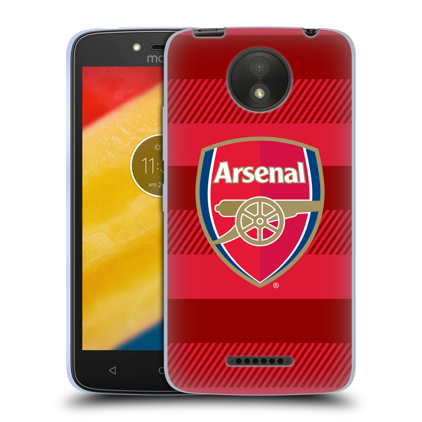Silikonové pouzdro na mobil Lenovo Moto C Plus - Head Case - Arsenal FC - Logo s pruhy