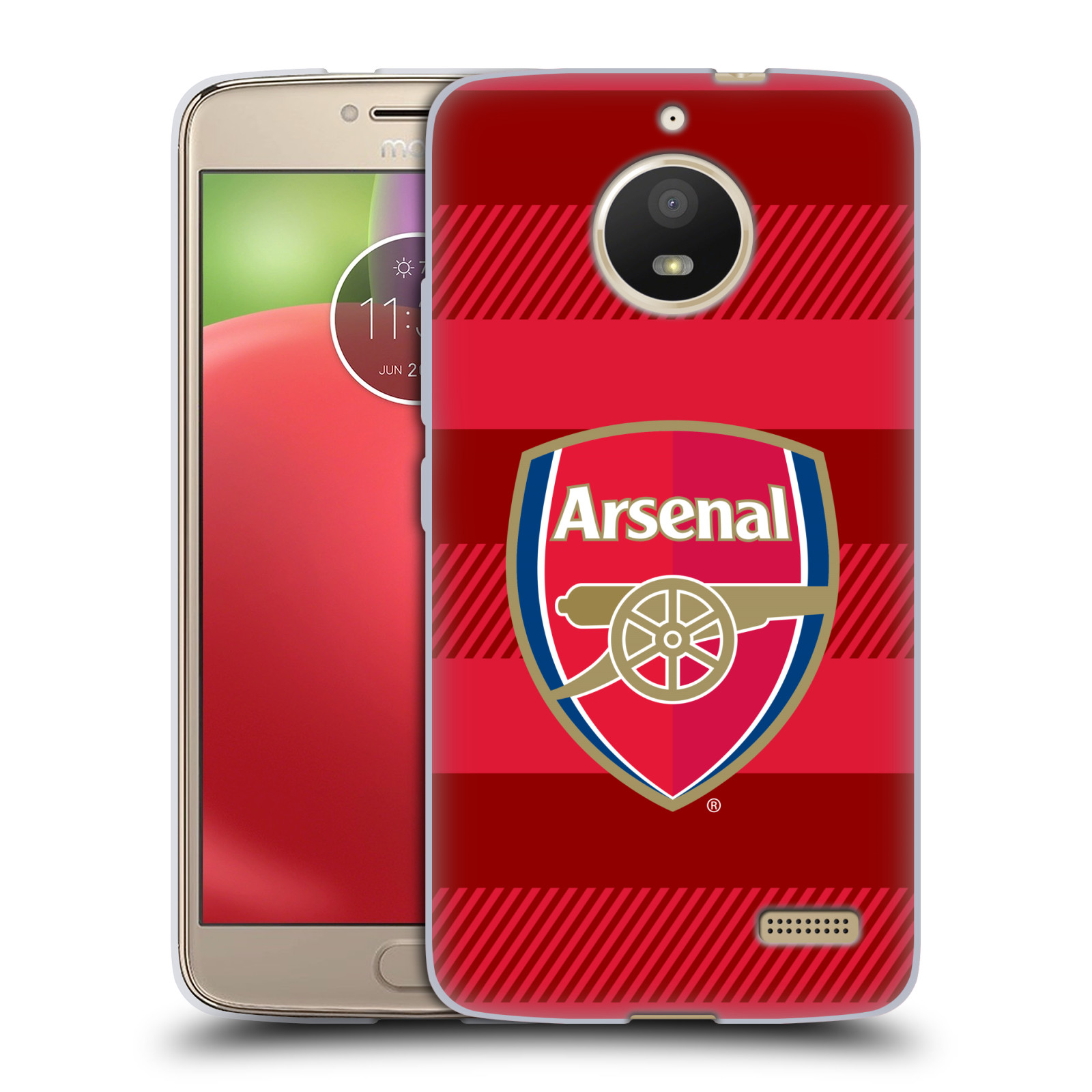 Silikonové pouzdro na mobil Lenovo Moto E4 - Head Case - Arsenal FC - Logo s pruhy