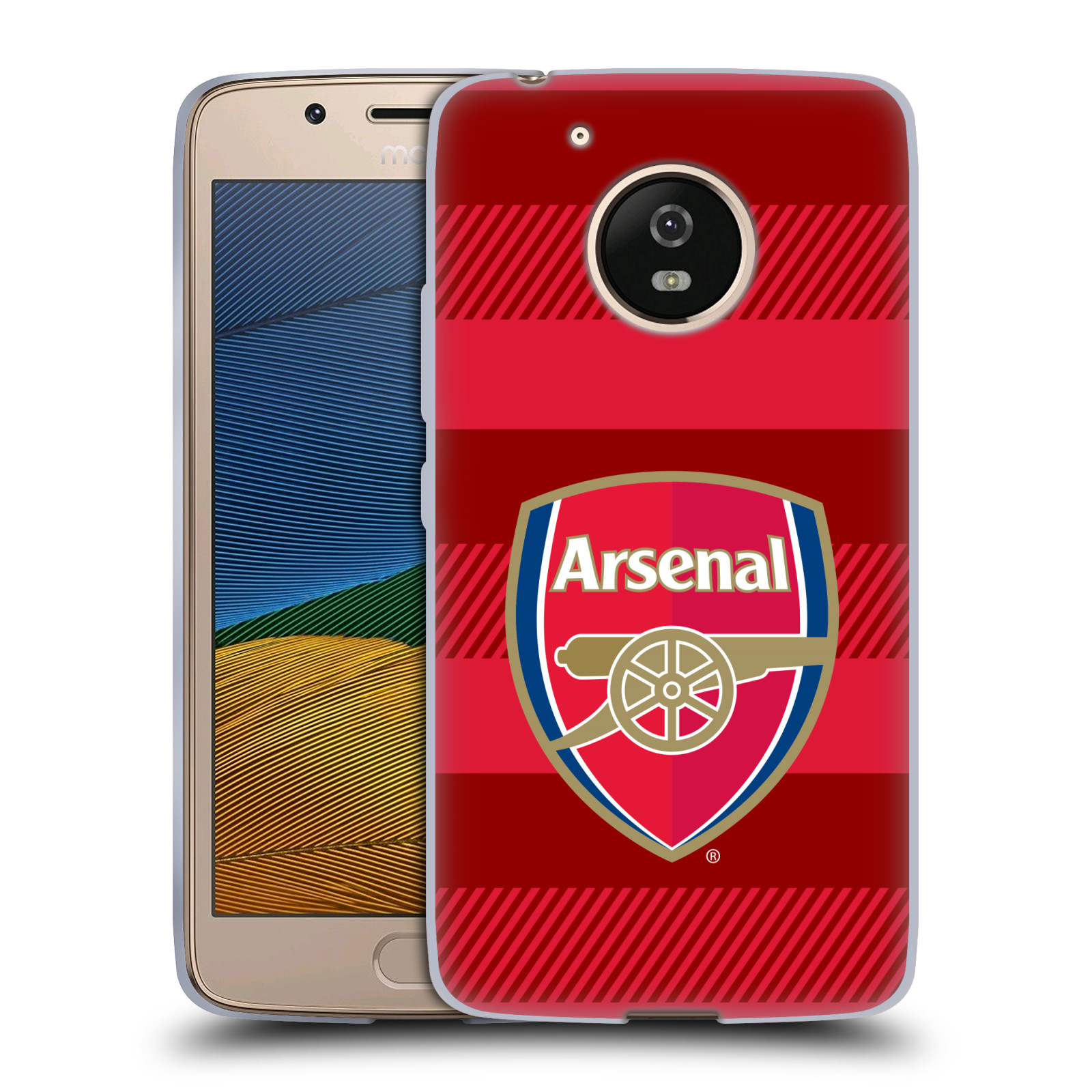 Silikonové pouzdro na mobil Lenovo Moto G5 - Head Case - Arsenal FC - Logo s pruhy