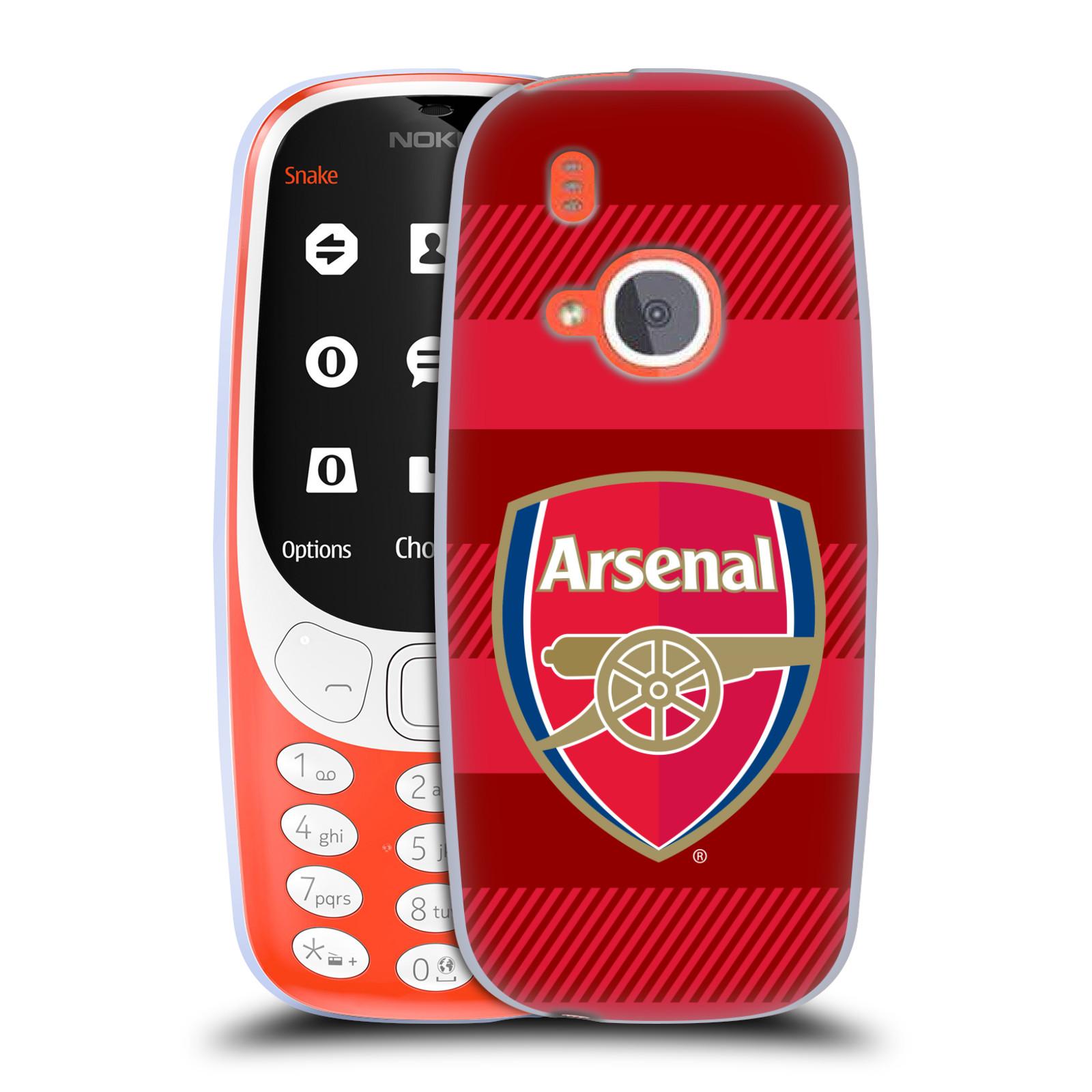 Silikonové pouzdro na mobil Nokia 3310 - Head Case - Arsenal FC - Logo s pruhy