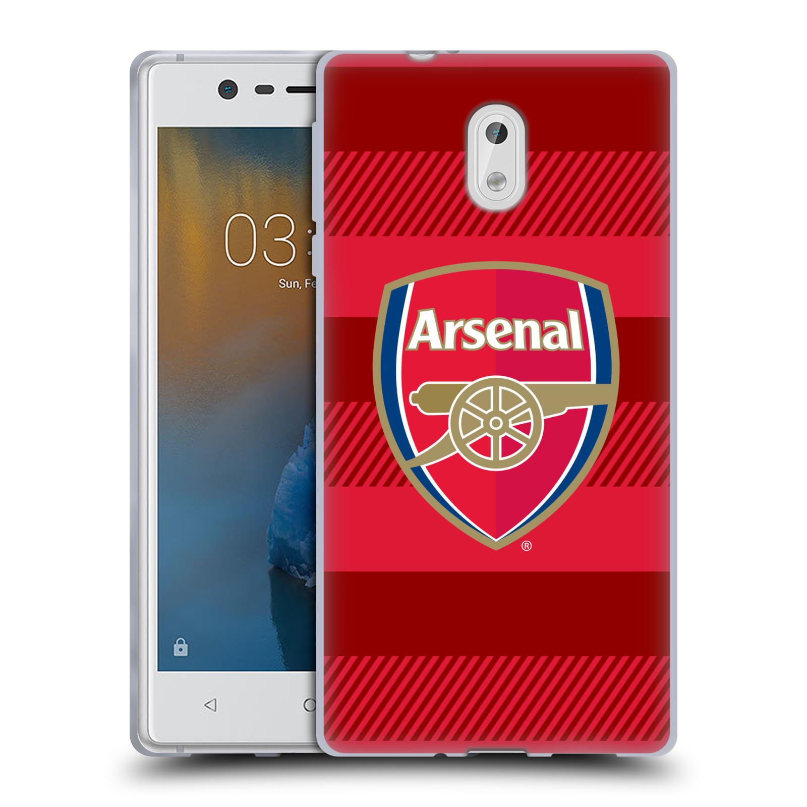 Silikonové pouzdro na mobil Nokia 3 Head Case - Arsenal FC - Logo s pruhy
