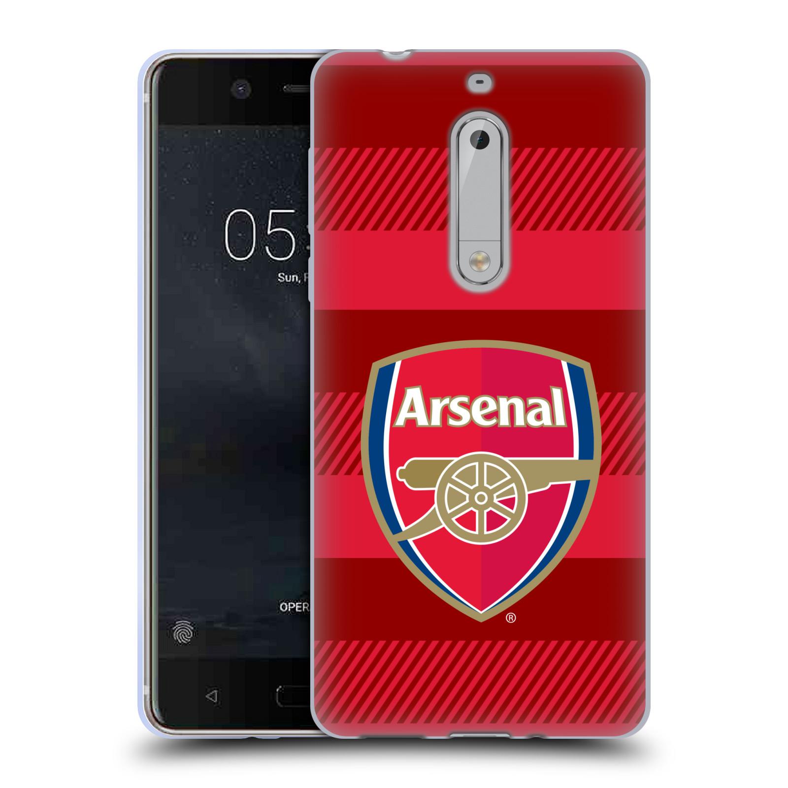 Silikonové pouzdro na mobil Nokia 5 Head Case - Arsenal FC - Logo s pruhy