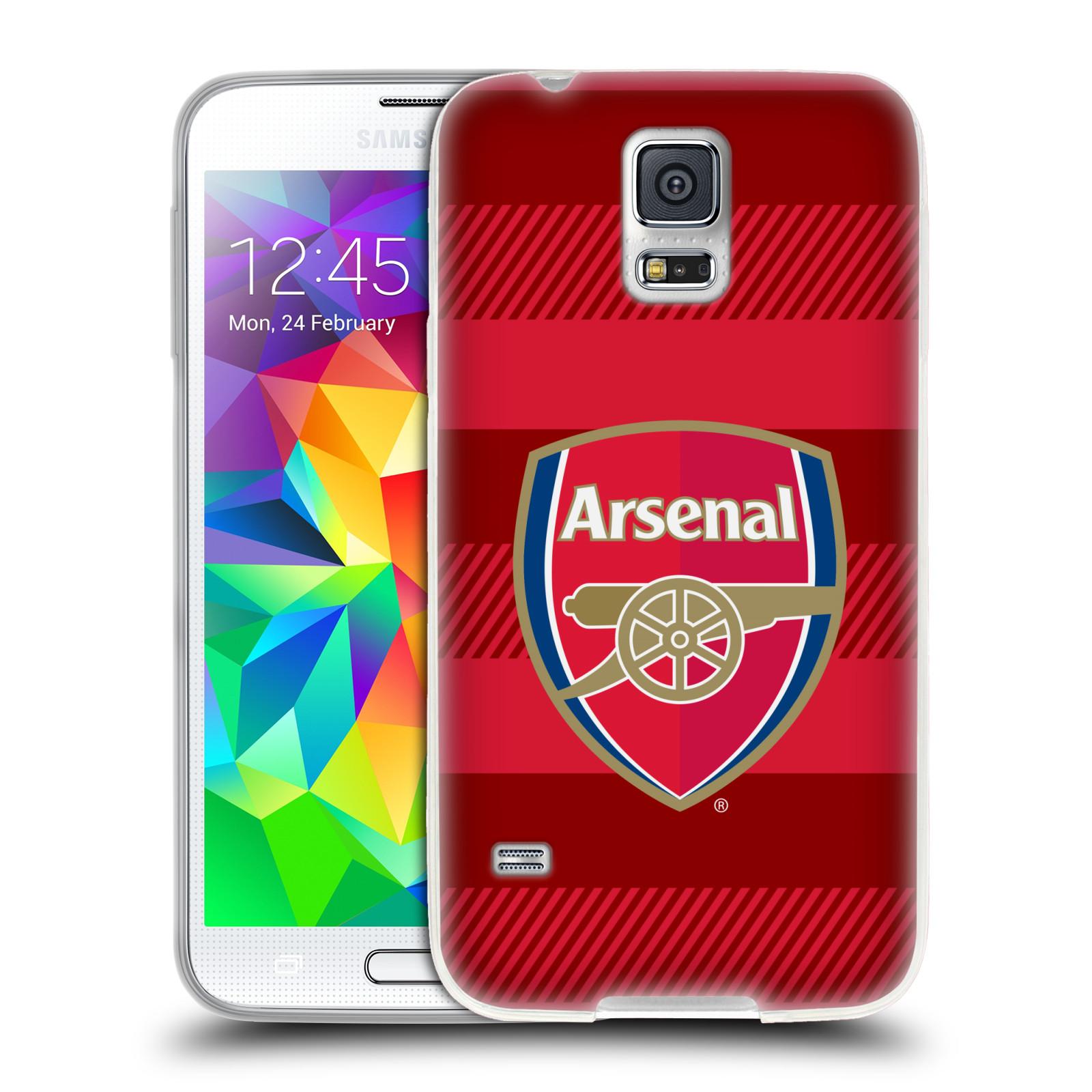 Silikonové pouzdro na mobil Samsung Galaxy S5 Neo - Head Case - Arsenal FC - Logo s pruhy