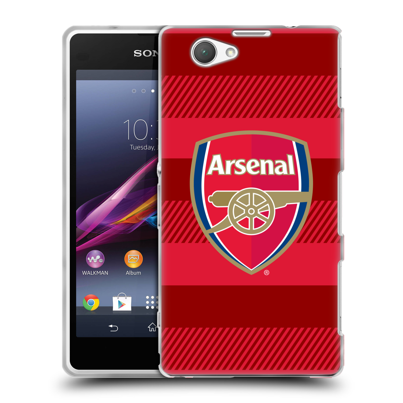 Silikonové pouzdro na mobil Sony Xperia Z1 Compact D5503 - Head Case - Arsenal FC - Logo s pruhy