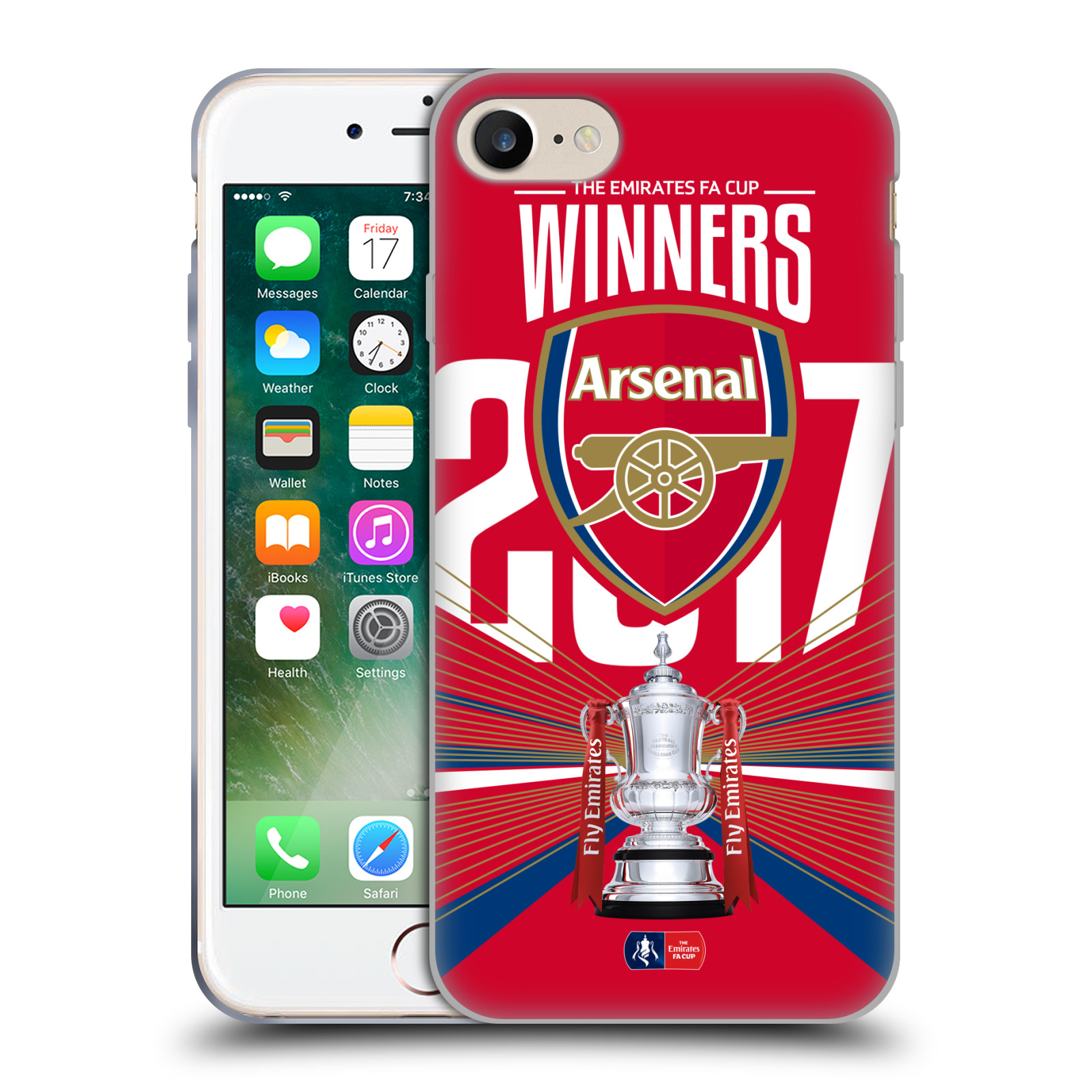 Silikonové pouzdro na mobil Apple iPhone 7 - Head Case - Arsenal FC - Trophy