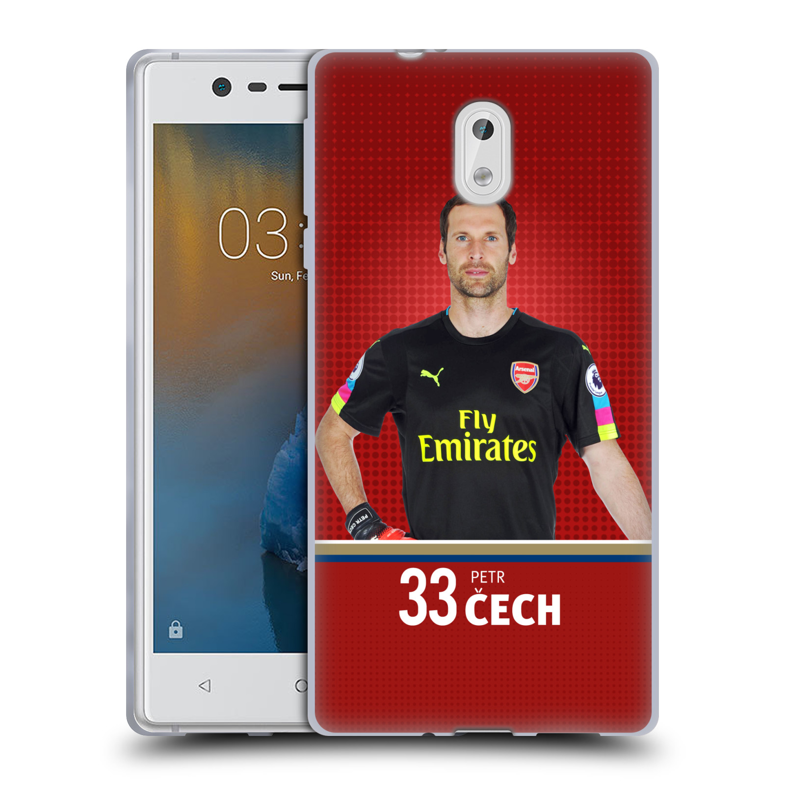 Silikonové pouzdro na mobil Nokia 3 Head Case - Arsenal FC - Petr Čech