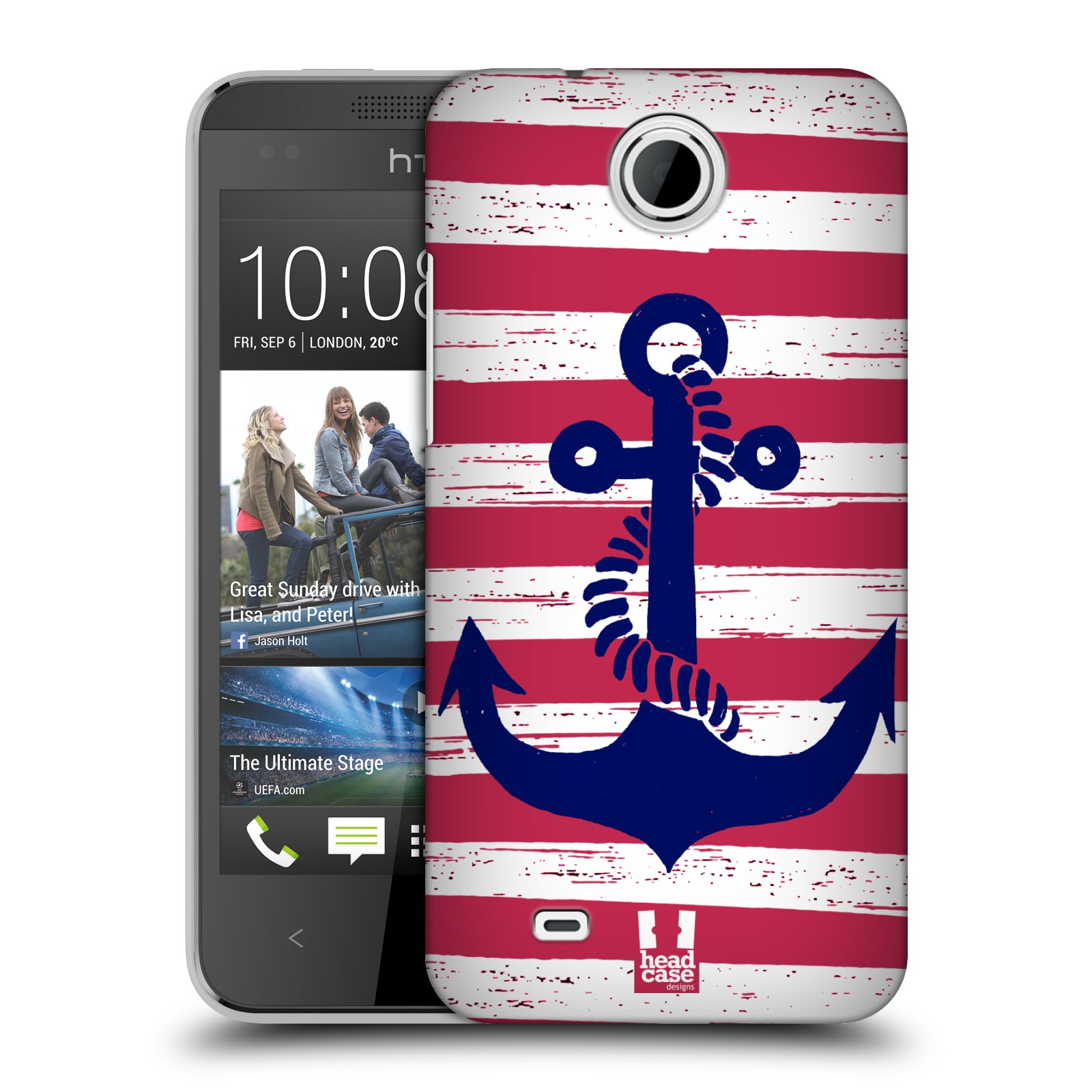 Plastové pouzdro na mobil HTC Desire 300 HEAD CASE KOTVA S PRUHY