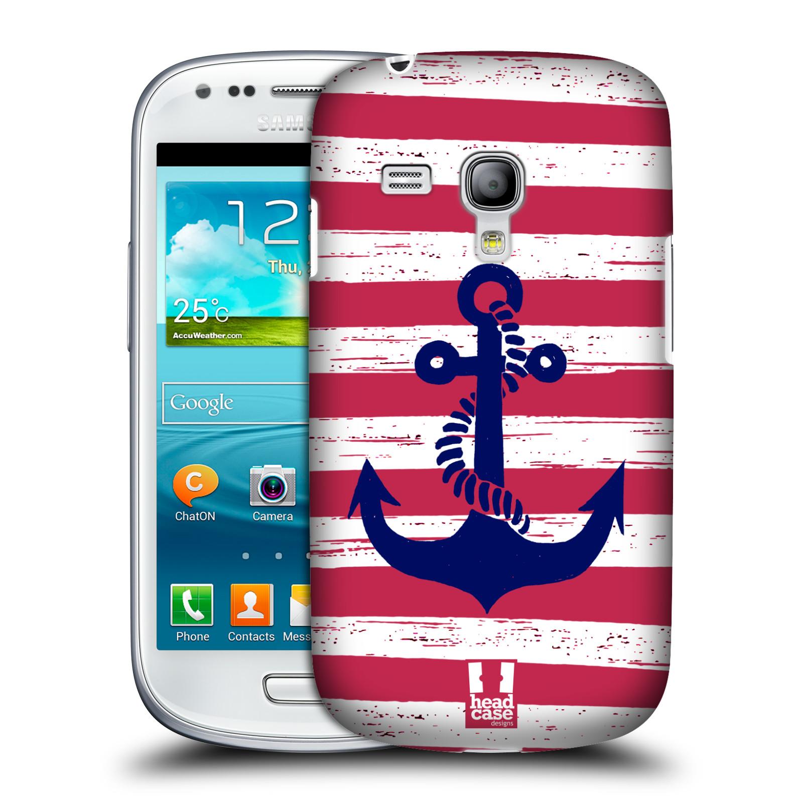 Plastové pouzdro na mobil Samsung Galaxy S3 Mini VE HEAD CASE KOTVA S PRUHY (Kryt či obal na mobilní telefon Samsung Galaxy S3 Mini VE GT-i8200)