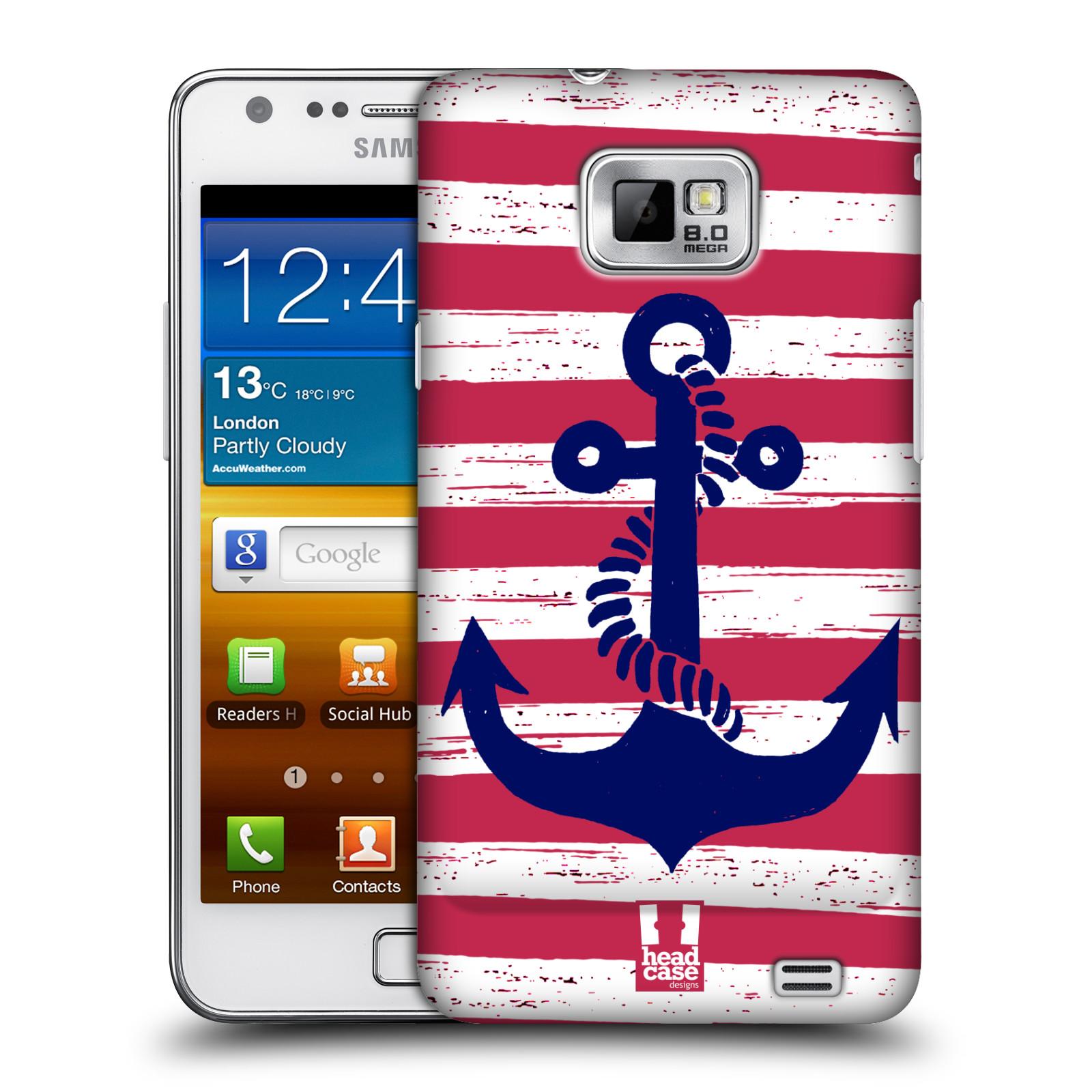 Plastové pouzdro na mobil Samsung Galaxy S II HEAD CASE KOTVA S PRUHY (Kryt či obal na mobilní telefon Samsung Galaxy S II GT-i9100)