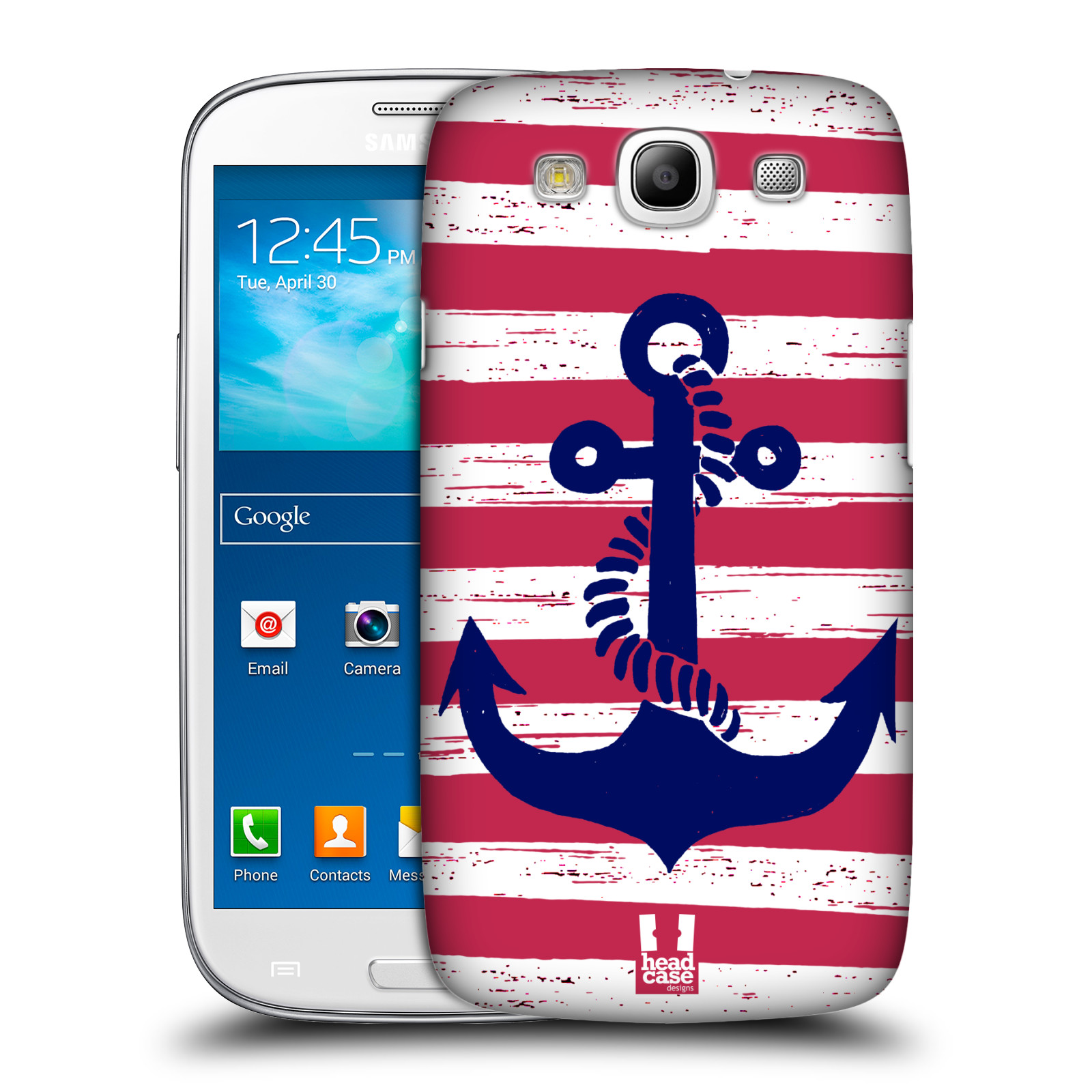 Plastové pouzdro na mobil Samsung Galaxy S III HEAD CASE KOTVA S PRUHY (Kryt či obal na mobilní telefon Samsung Galaxy S III GT-i9300)
