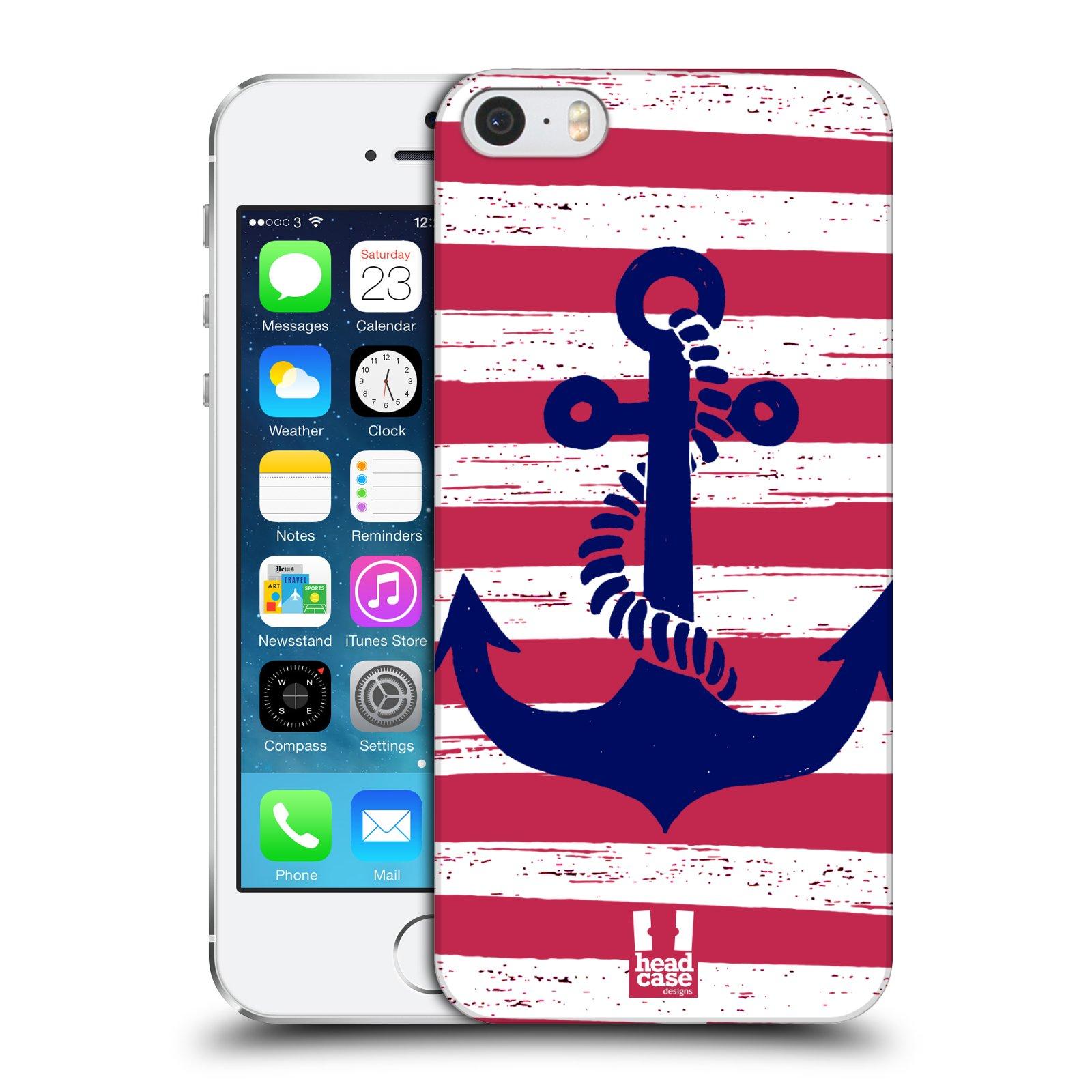 Plastové pouzdro na mobil Apple iPhone SE, 5 a 5S HEAD CASE KOTVA S PRUHY