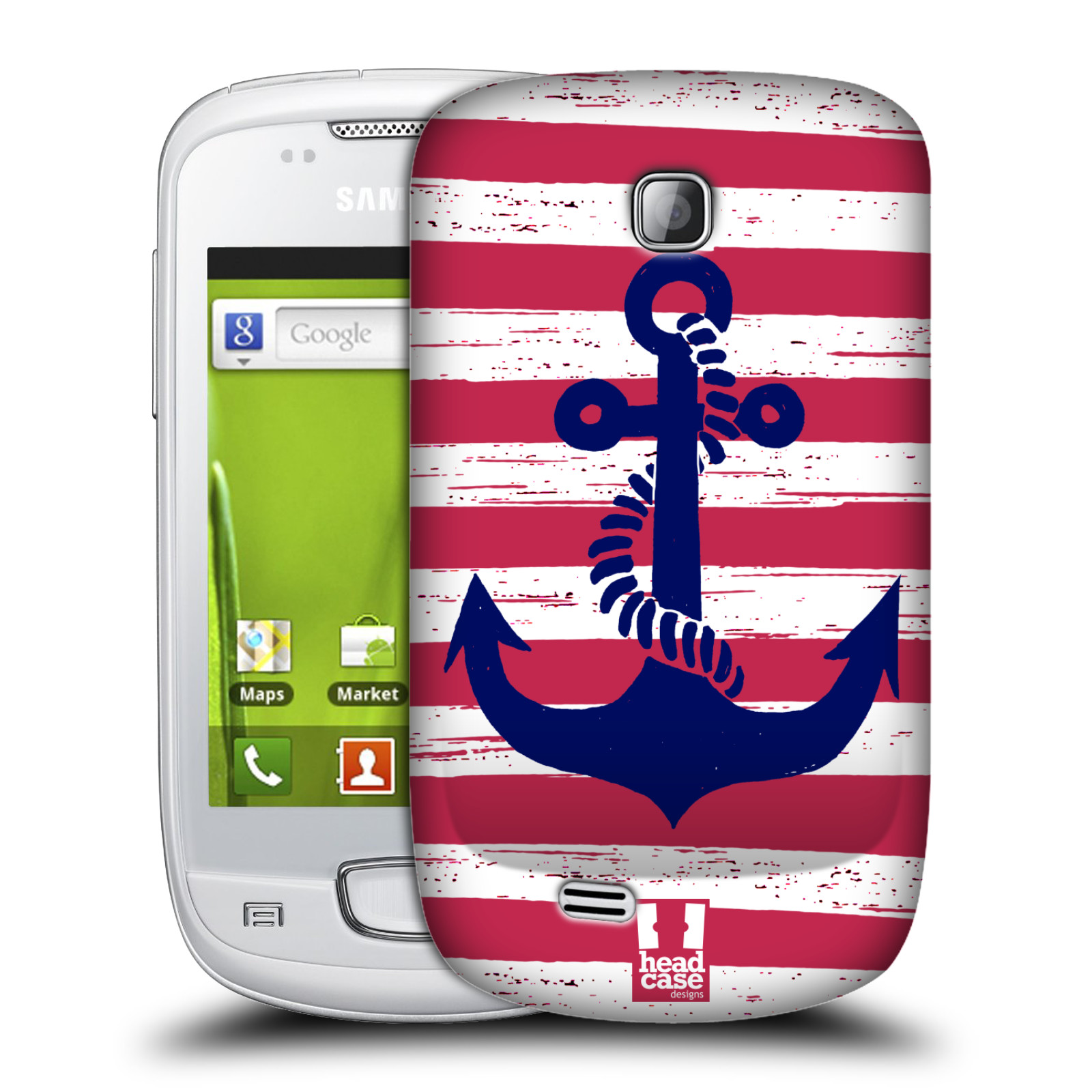 Plastové pouzdro na mobil Samsung Galaxy Mini HEAD CASE KOTVA S PRUHY (Kryt či obal na mobilní telefon Samsung Galaxy Mini GT-S5570 / GT-S5570i)