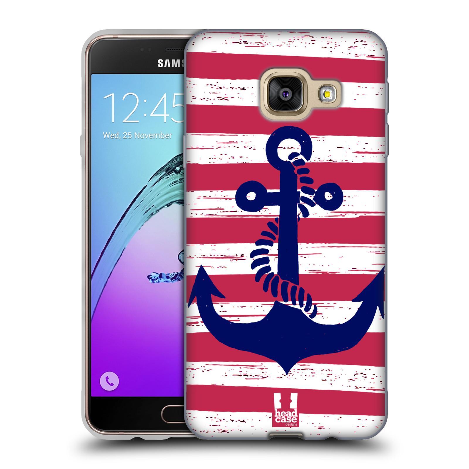 Silikonové pouzdro na mobil Samsung Galaxy A3 (2016) HEAD CASE KOTVA S PRUHY