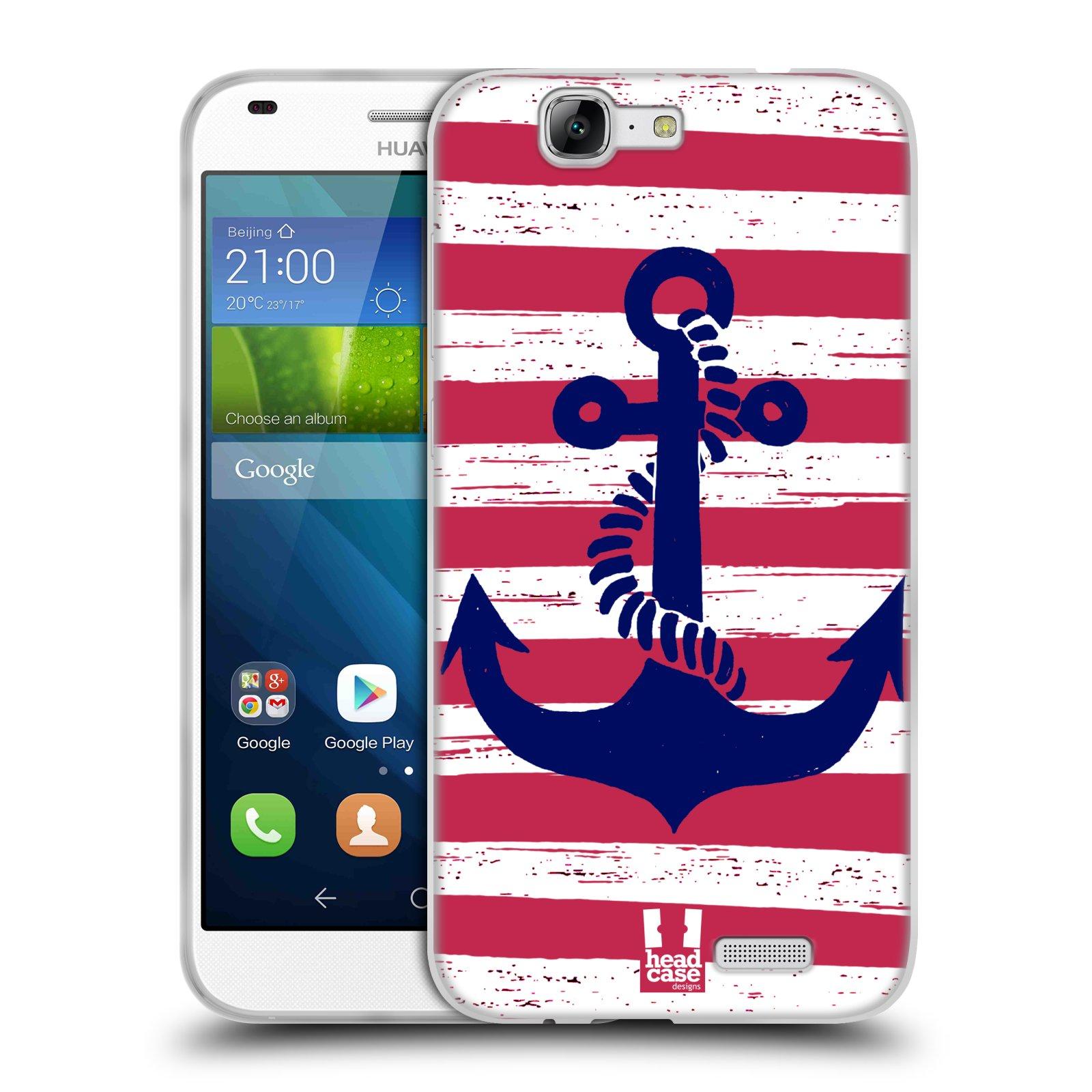 Silikonové pouzdro na mobil Huawei Ascend G7 HEAD CASE KOTVA S PRUHY