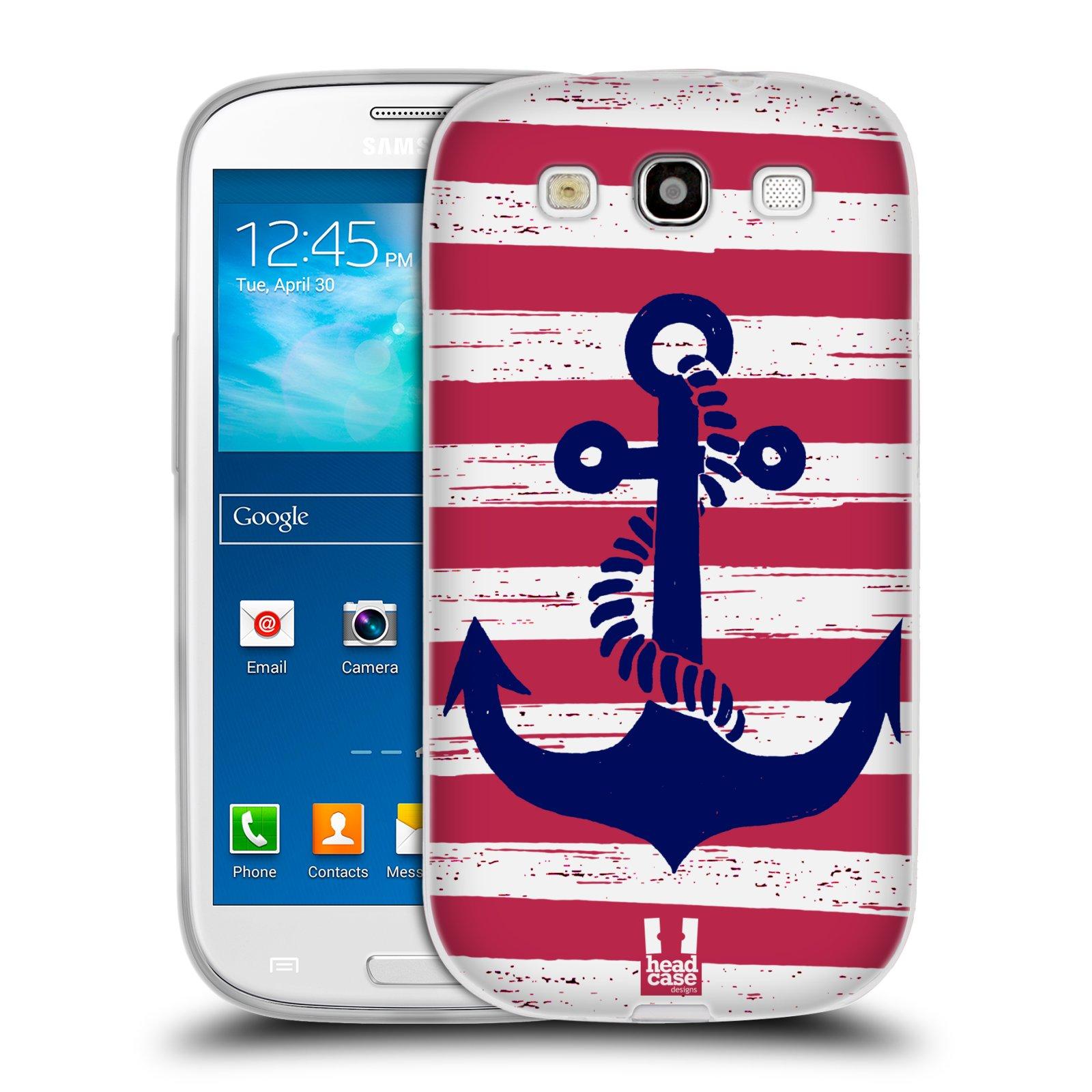 Silikonové pouzdro na mobil Samsung Galaxy S3 Neo HEAD CASE KOTVA S PRUHY (Silikonový kryt či obal na mobilní telefon Samsung Galaxy S3 Neo GT-i9301i)