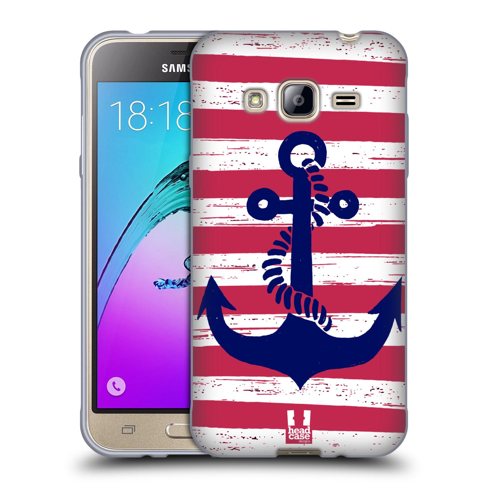 Silikonové pouzdro na mobil Samsung Galaxy J3 (2016) HEAD CASE KOTVA S PRUHY