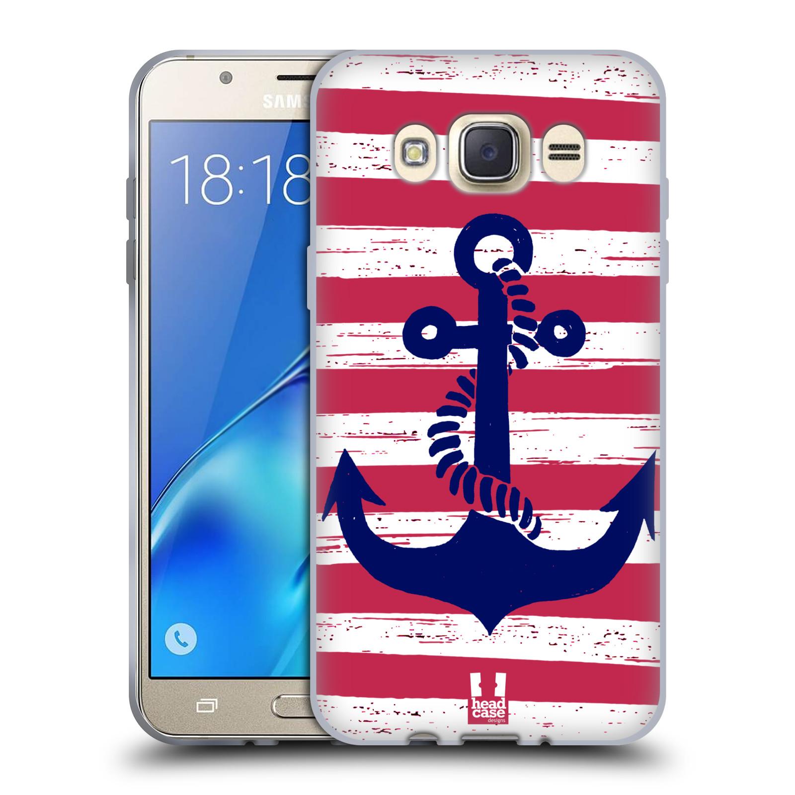 Silikonové pouzdro na mobil Samsung Galaxy J7 (2016) HEAD CASE KOTVA S PRUHY