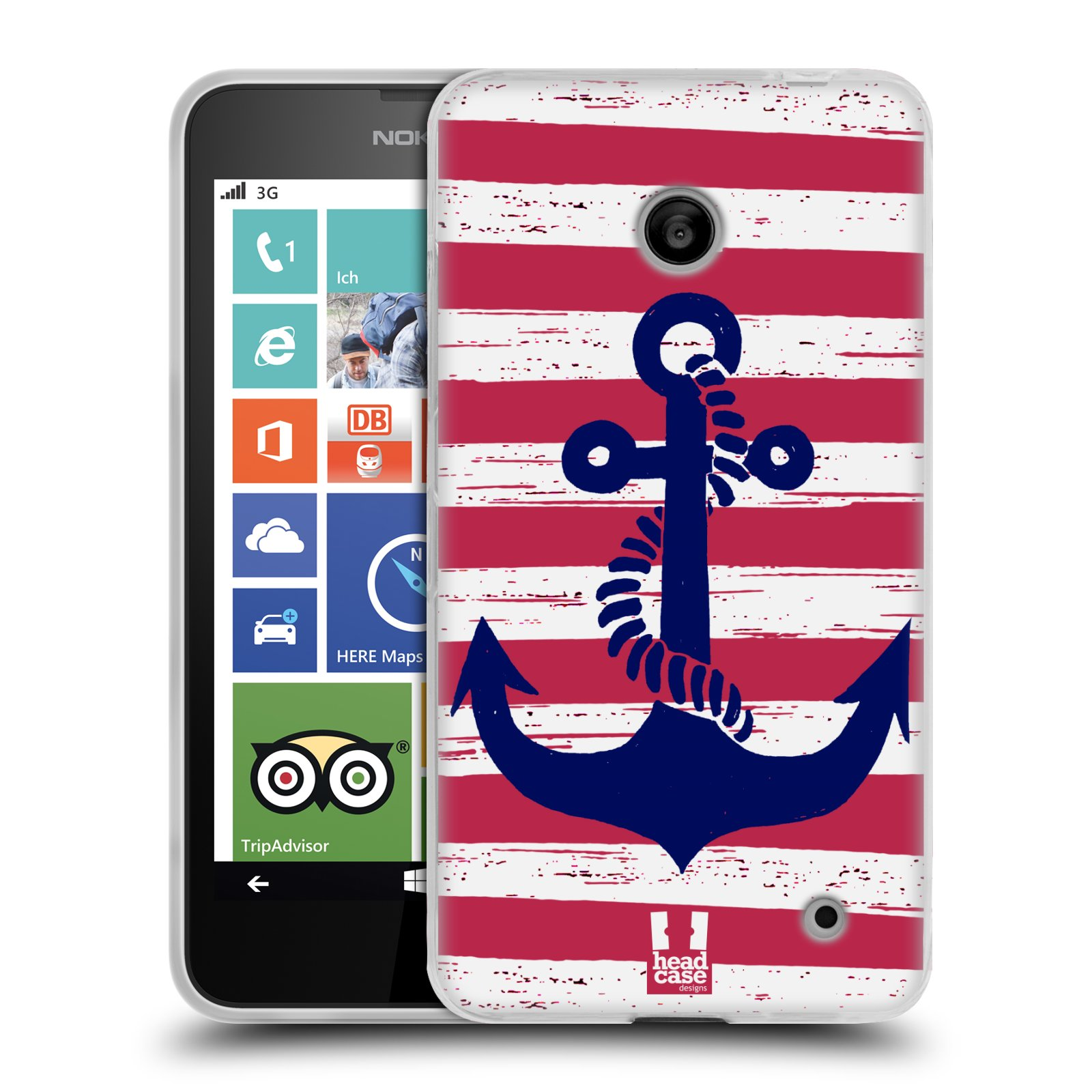 Silikonové pouzdro na mobil Nokia Lumia 630 HEAD CASE KOTVA S PRUHY (Silikonový kryt či obal na mobilní telefon Nokia Lumia 630 a Nokia Lumia 630 Dual SIM)