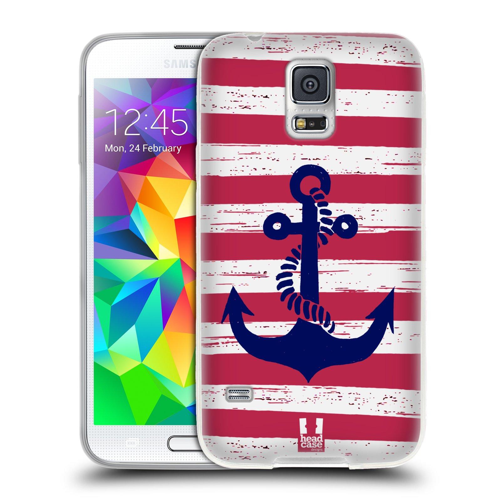 Silikonové pouzdro na mobil Samsung Galaxy S5 HEAD CASE KOTVA S PRUHY