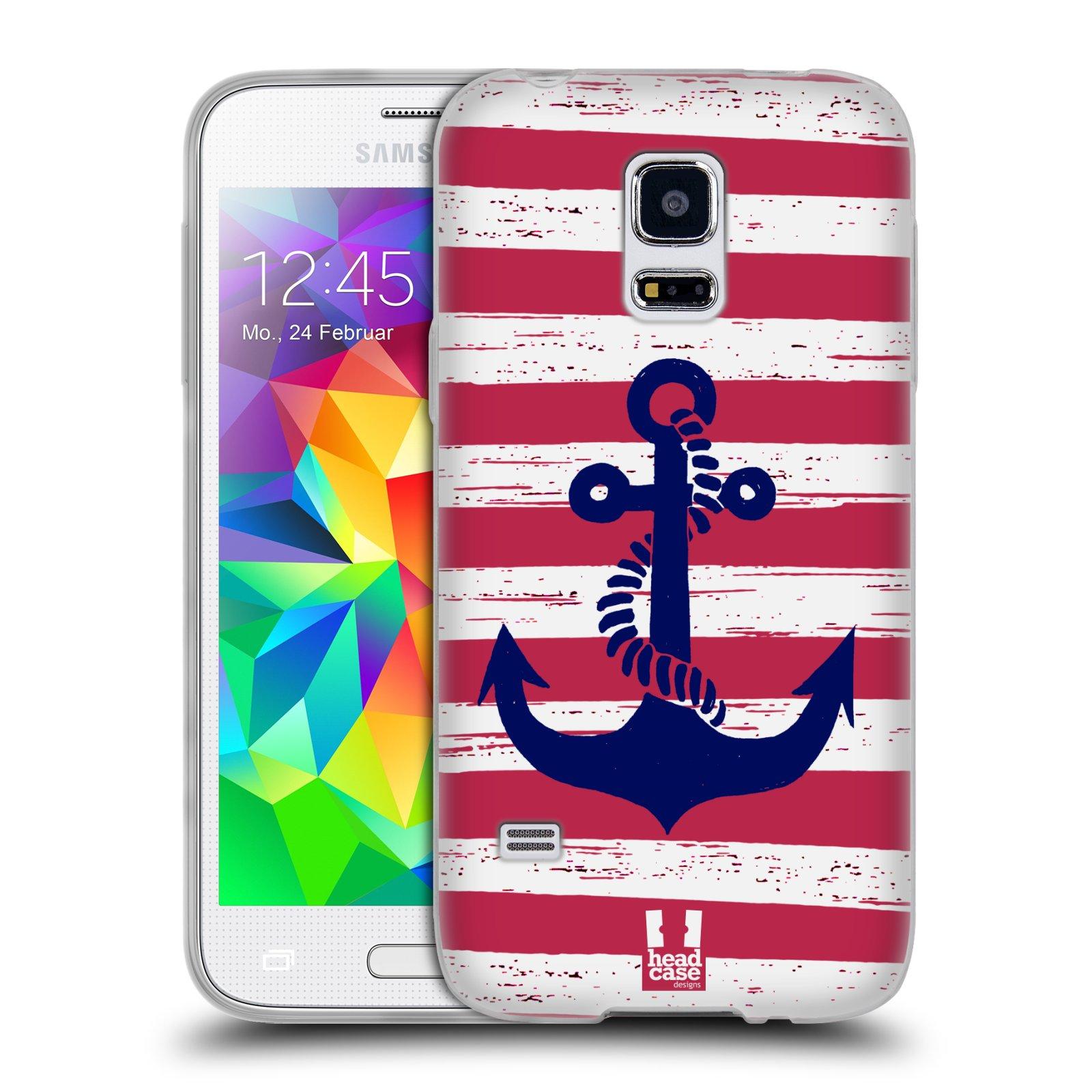 Silikonové pouzdro na mobil Samsung Galaxy S5 Mini HEAD CASE KOTVA S PRUHY