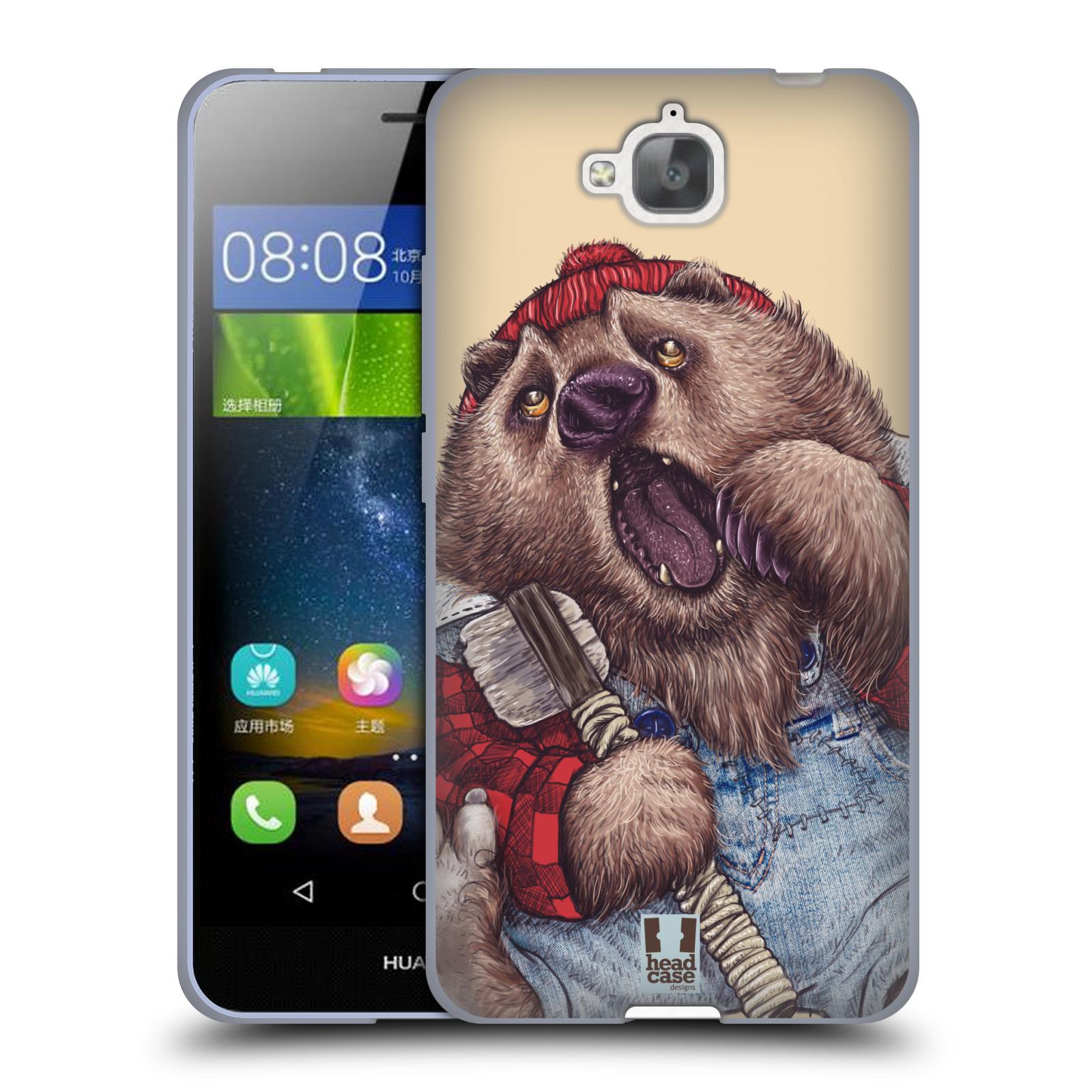 Silikonové pouzdro na mobil Huawei Y6 Pro Dual Sim HEAD CASE ANIMPLA MEDVĚD