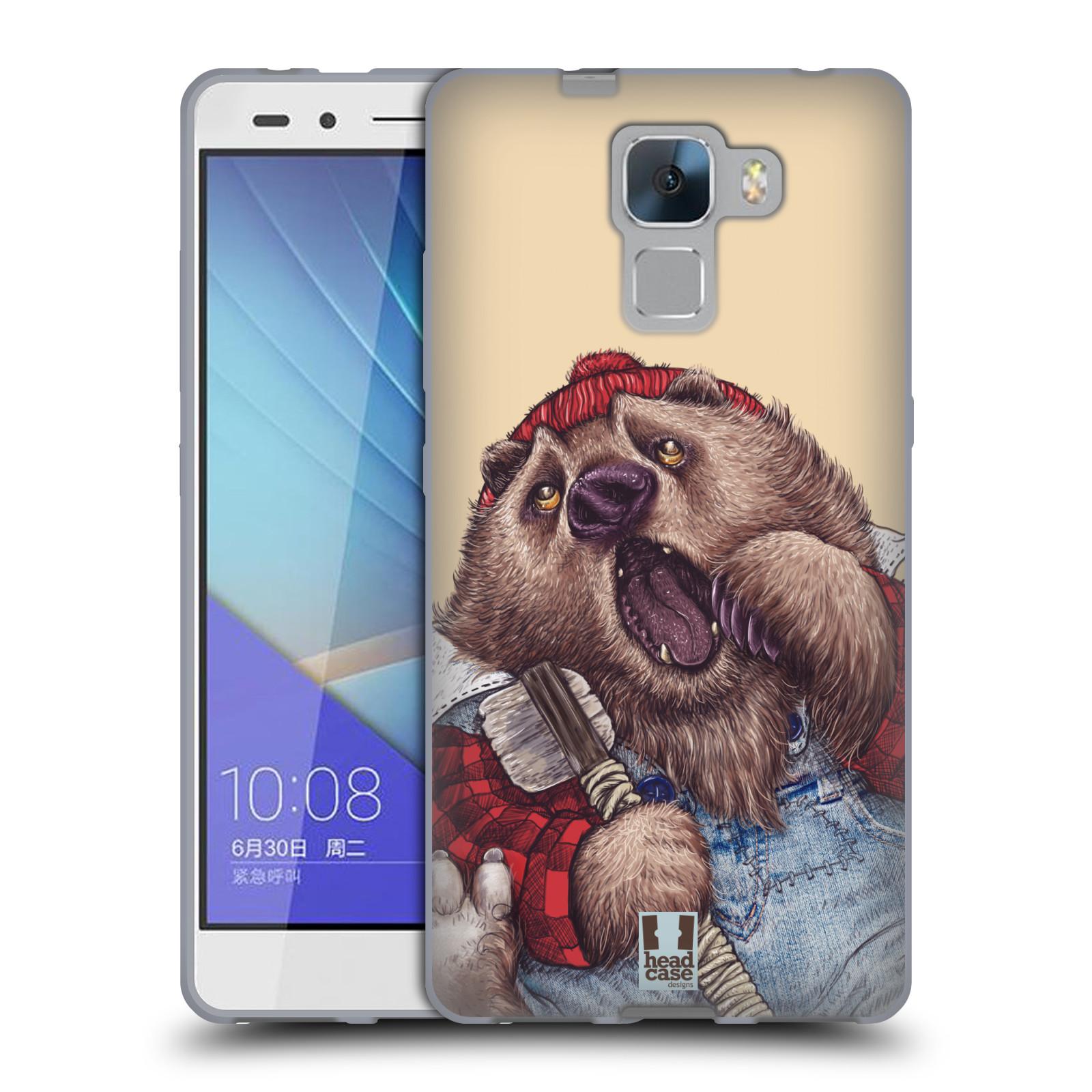 Silikonové pouzdro na mobil Honor 7 HEAD CASE ANIMPLA MEDVĚD