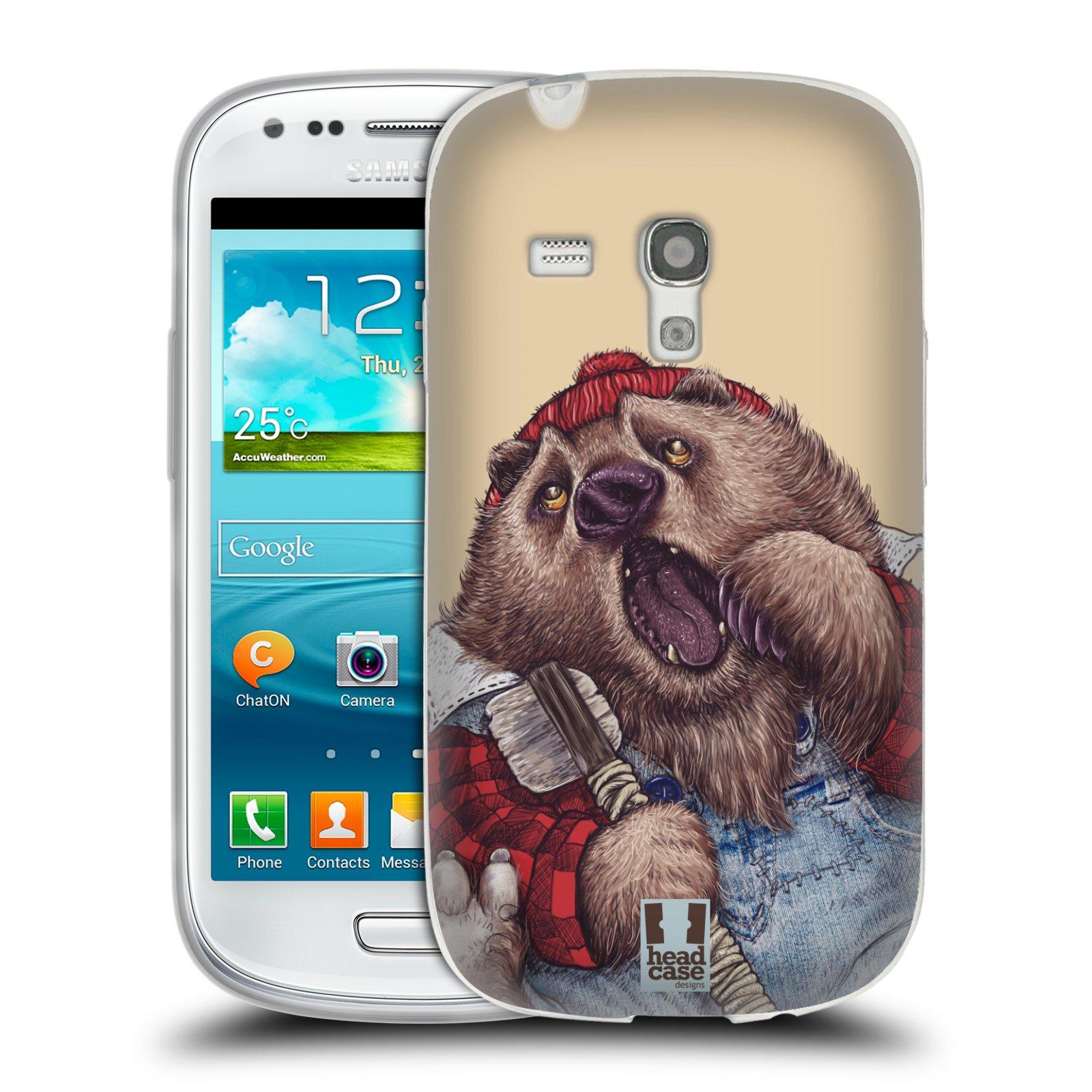 Silikonové pouzdro na mobil Samsung Galaxy S III Mini HEAD CASE ANIMPLA MEDVĚD (Silikonový kryt či obal na mobilní telefon Samsung Galaxy S III Mini GT-i8190)