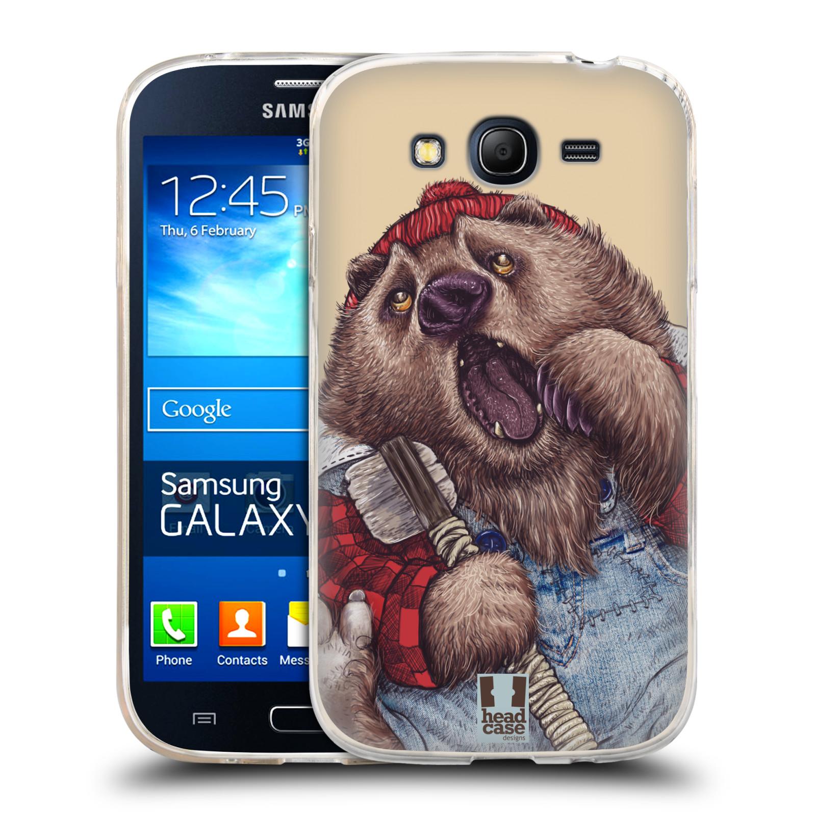 Silikonové pouzdro na mobil Samsung Galaxy Grand Neo Plus HEAD CASE ANIMPLA MEDVĚD