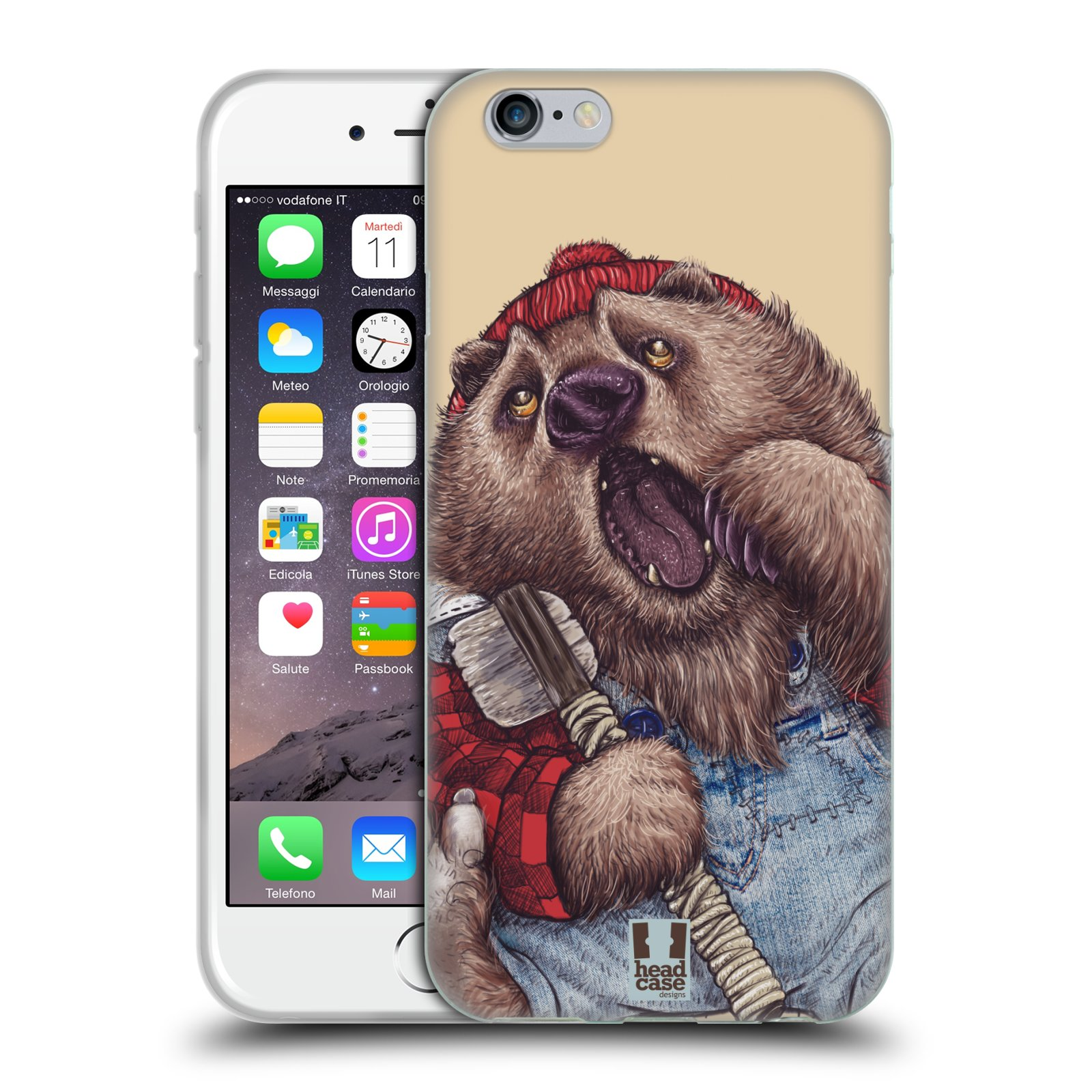 Silikonové pouzdro na mobil Apple iPhone 6 a 6S HEAD CASE ANIMPLA MEDVĚD