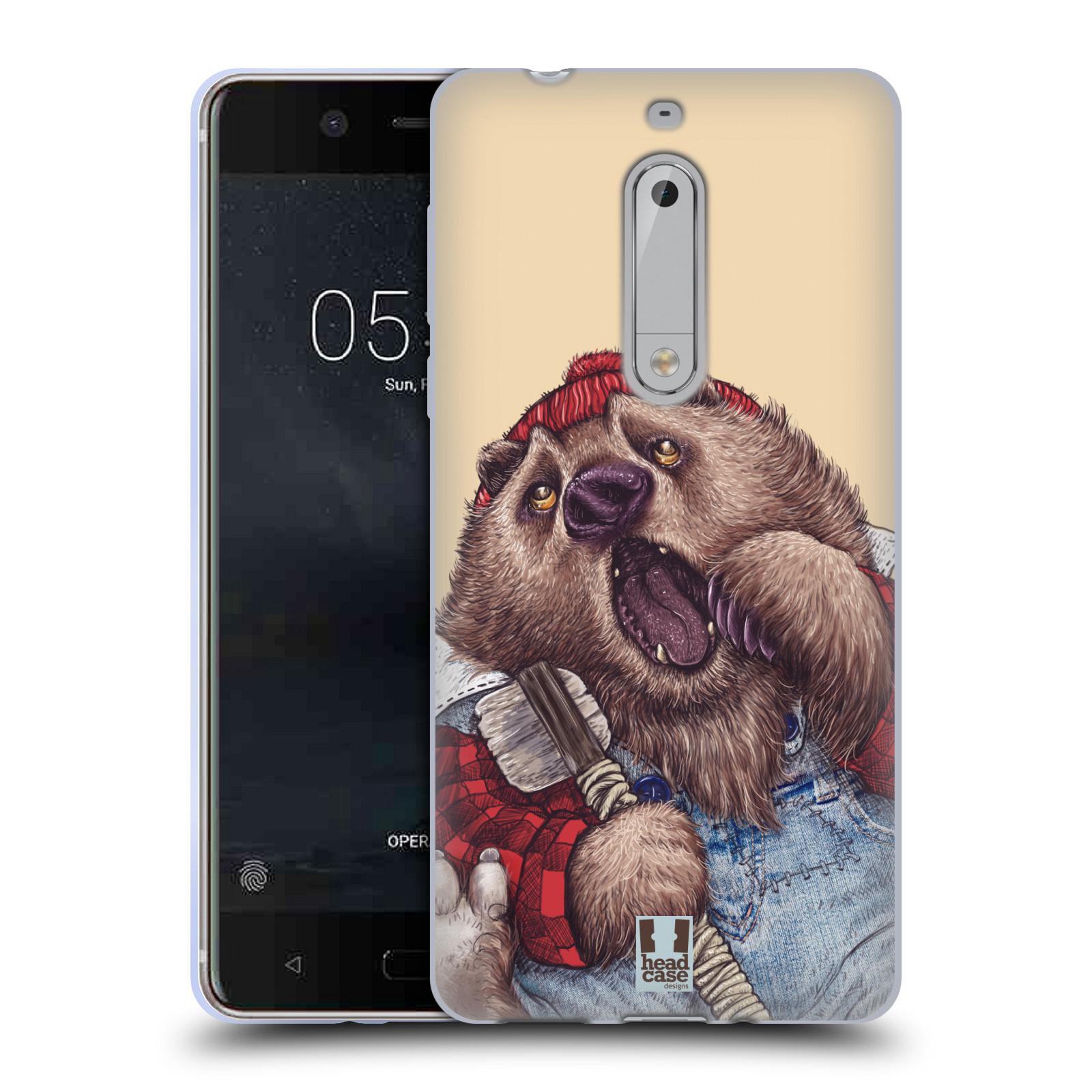 Silikonové pouzdro na mobil Nokia 5 Head Case - ANIMPLA MEDVĚD