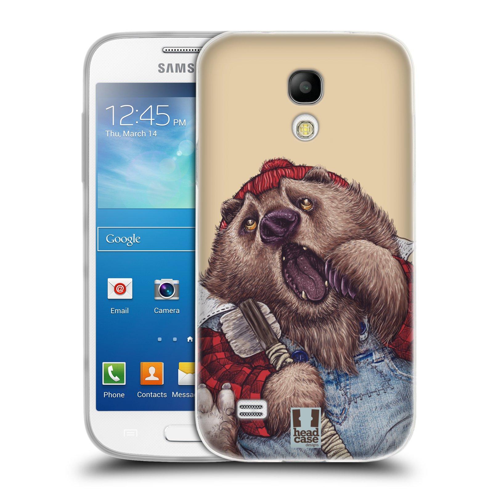 Silikonové pouzdro na mobil Samsung Galaxy S4 Mini HEAD CASE ANIMPLA MEDVĚD
