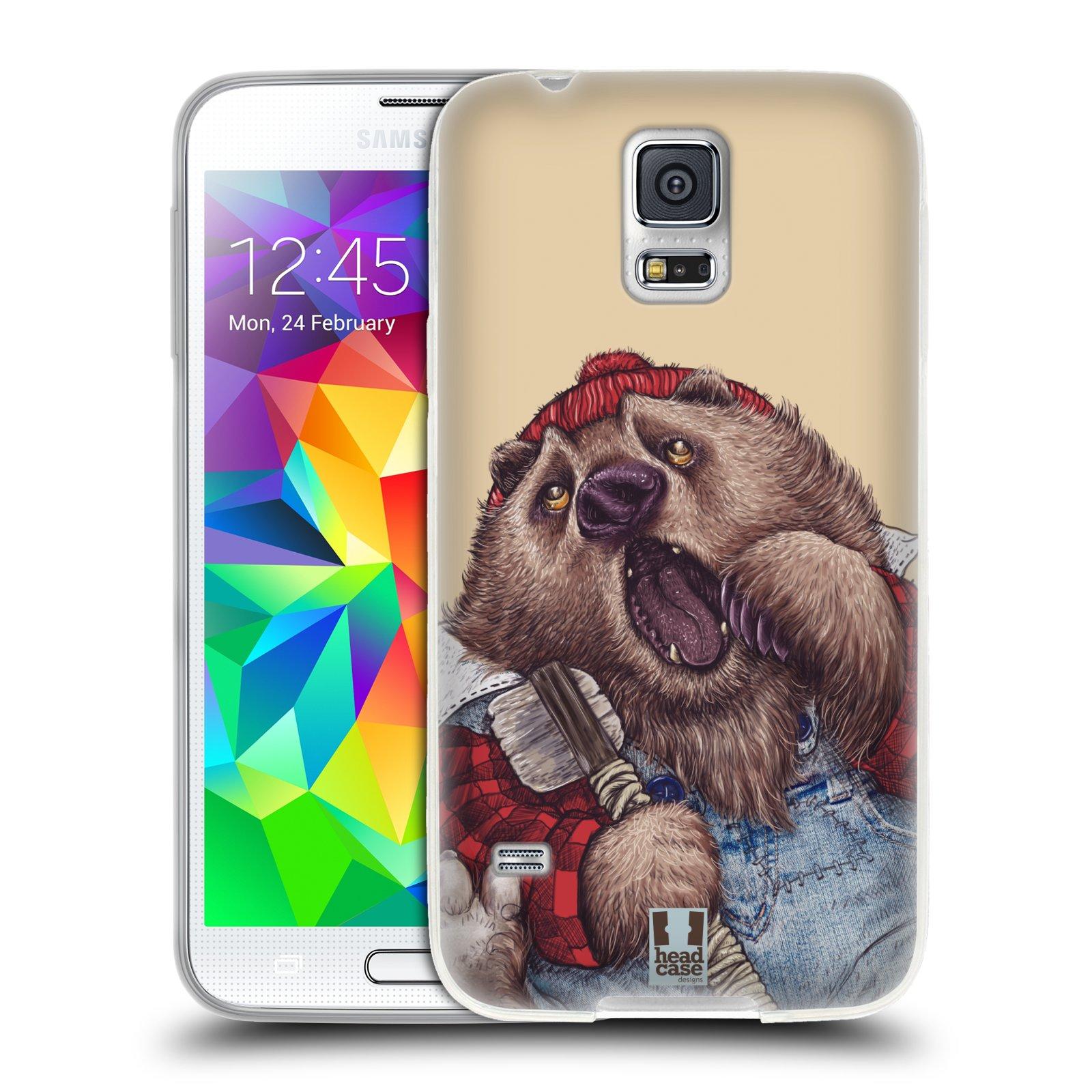 Silikonové pouzdro na mobil Samsung Galaxy S5 HEAD CASE ANIMPLA MEDVĚD