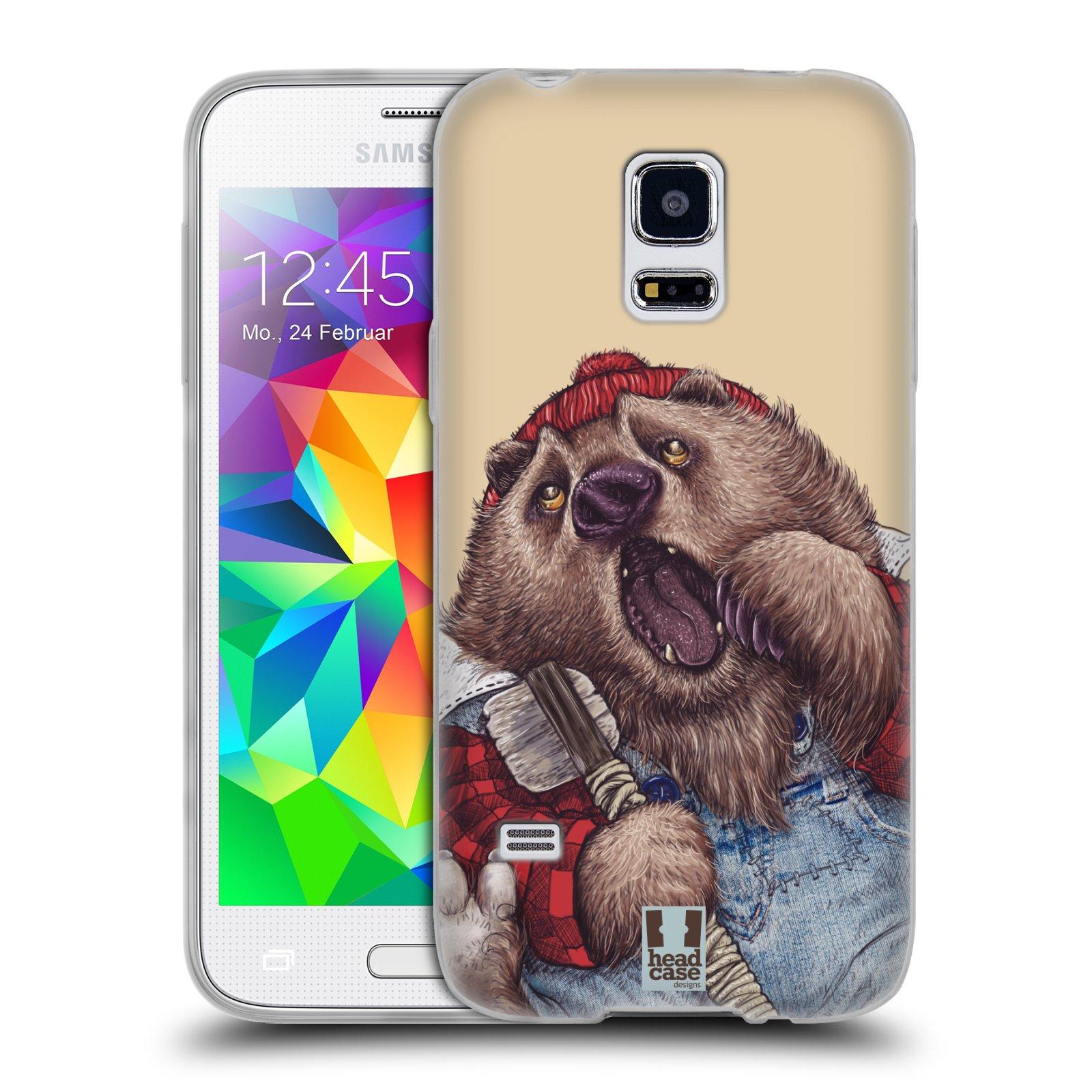 Silikonové pouzdro na mobil Samsung Galaxy S5 Mini HEAD CASE ANIMPLA MEDVĚD