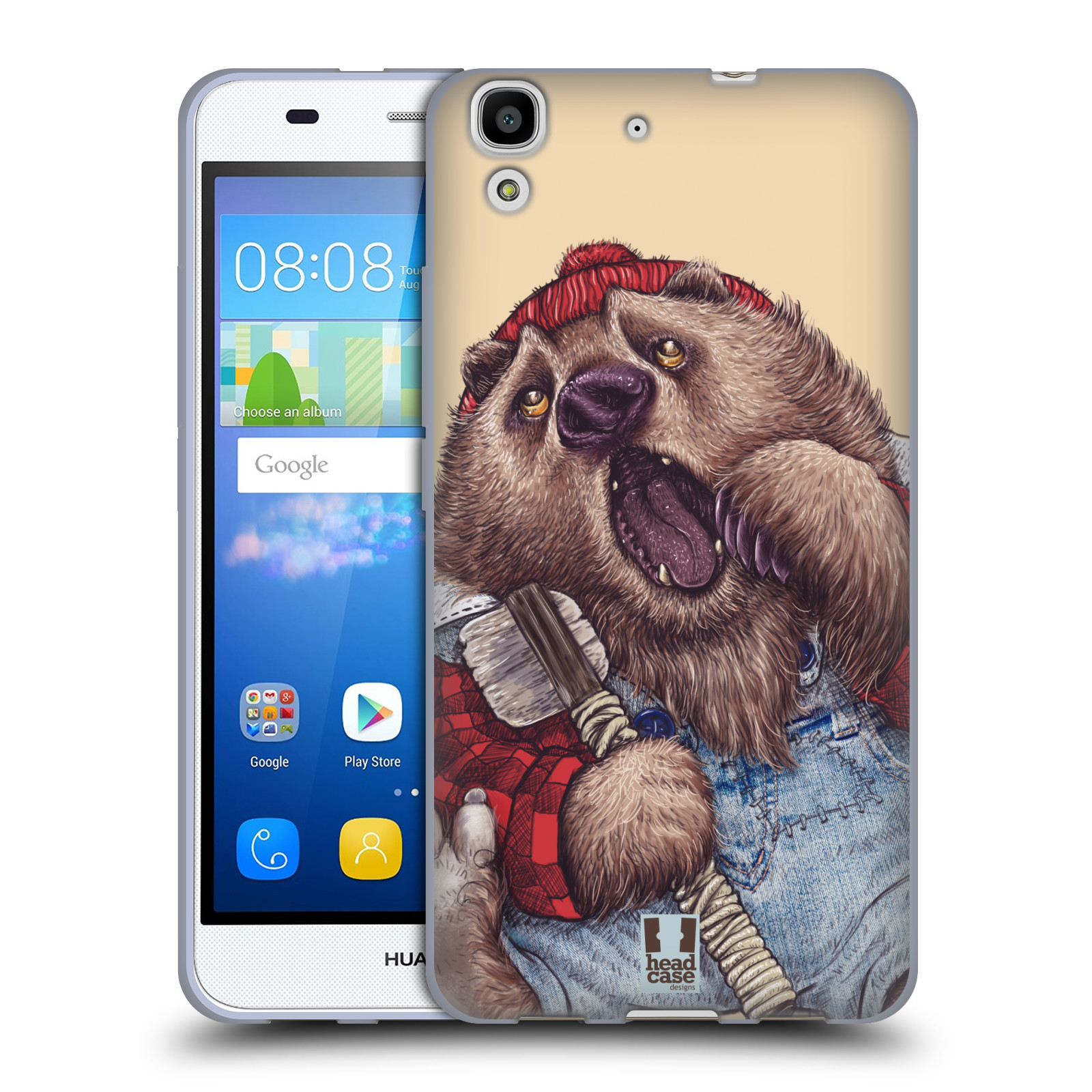 Silikonové pouzdro na mobil Huawei Y6 HEAD CASE ANIMPLA MEDVĚD