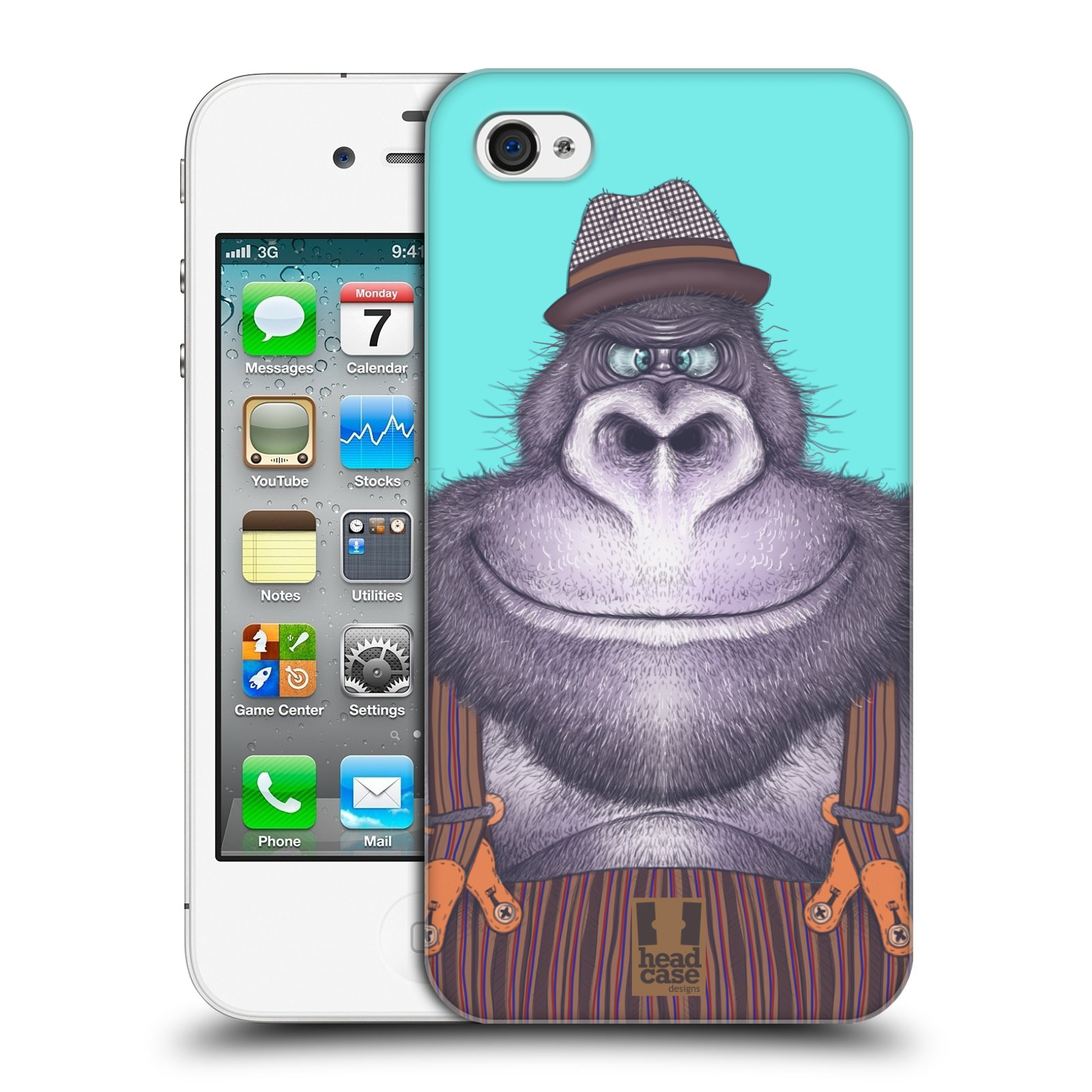Plastové pouzdro na mobil Apple iPhone 4 a 4S HEAD CASE ANIMPLA GORILÁK